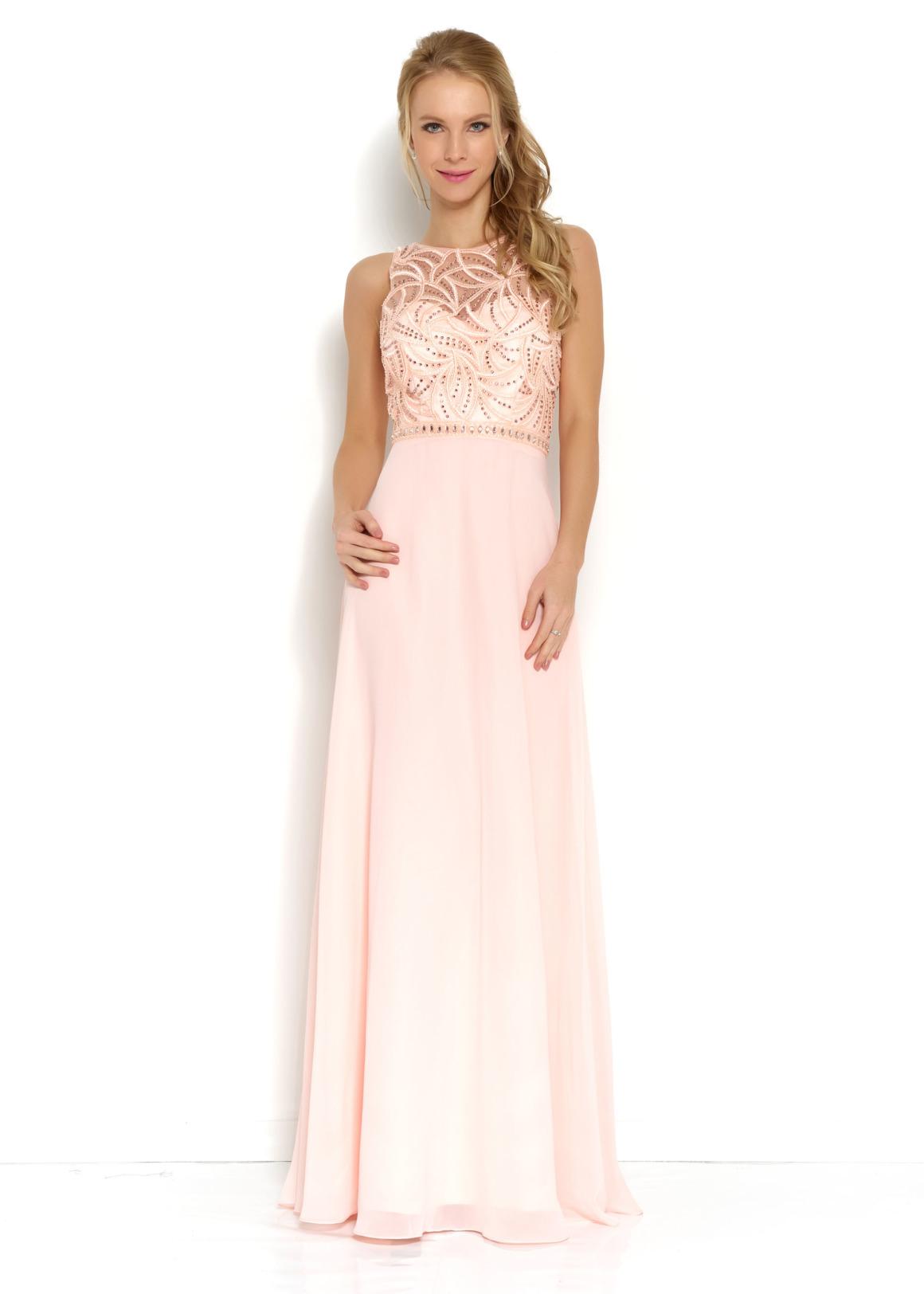 Brautjungfern Kleid Hochzeit Mode klassisch Trauzeugin Brides Maid soft pastell peach