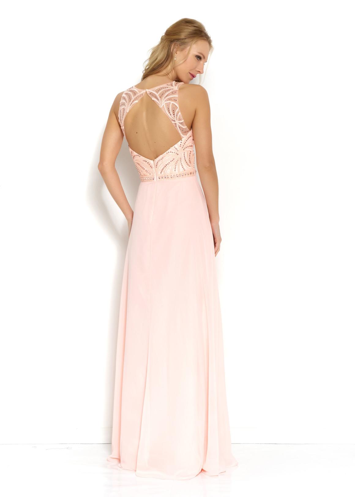 Brautjungfern Kleid Hochzeit Mode klassisch Trauzeugin Brides Maid soft pastell peach nude Rücken Ansicht