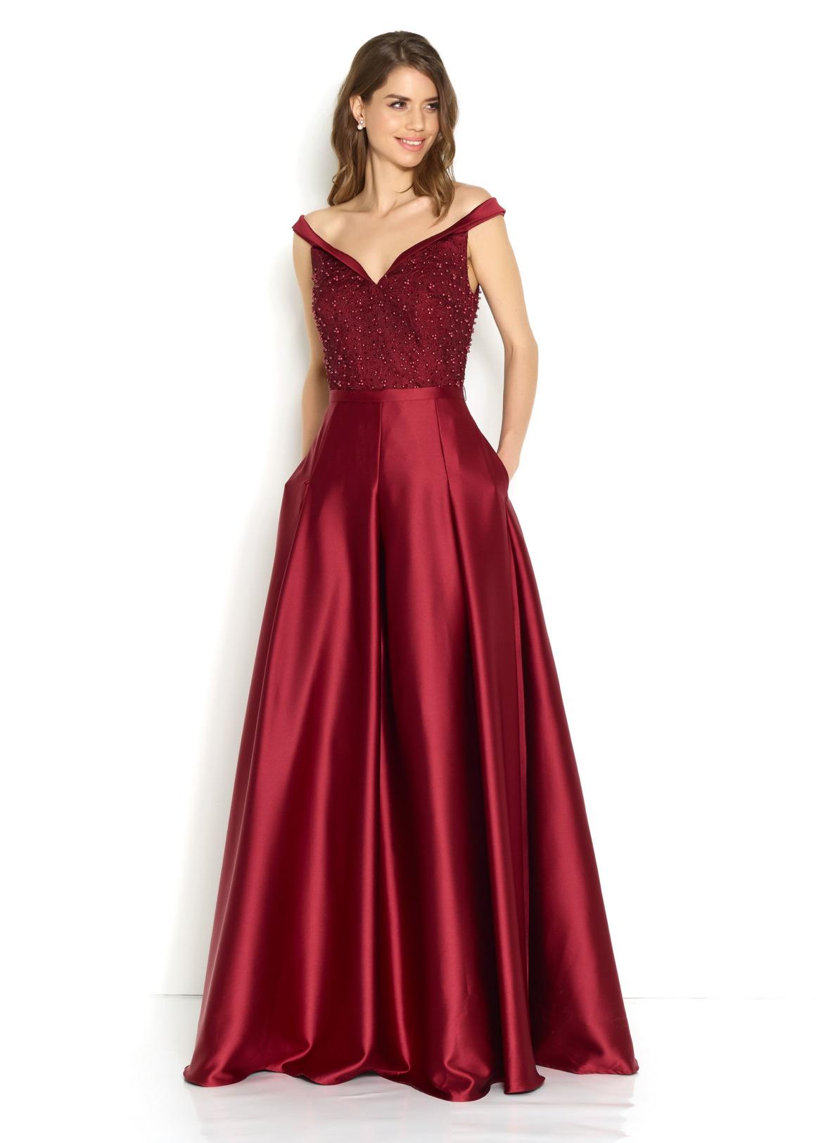 Schützenfest Königinnenkleid Hofdamen Hofstaat langes Kleid Oberteil mit Perlen bordeaux rot dunkelrot burgund Satin Rock mit Taschen Carmenausschnitt