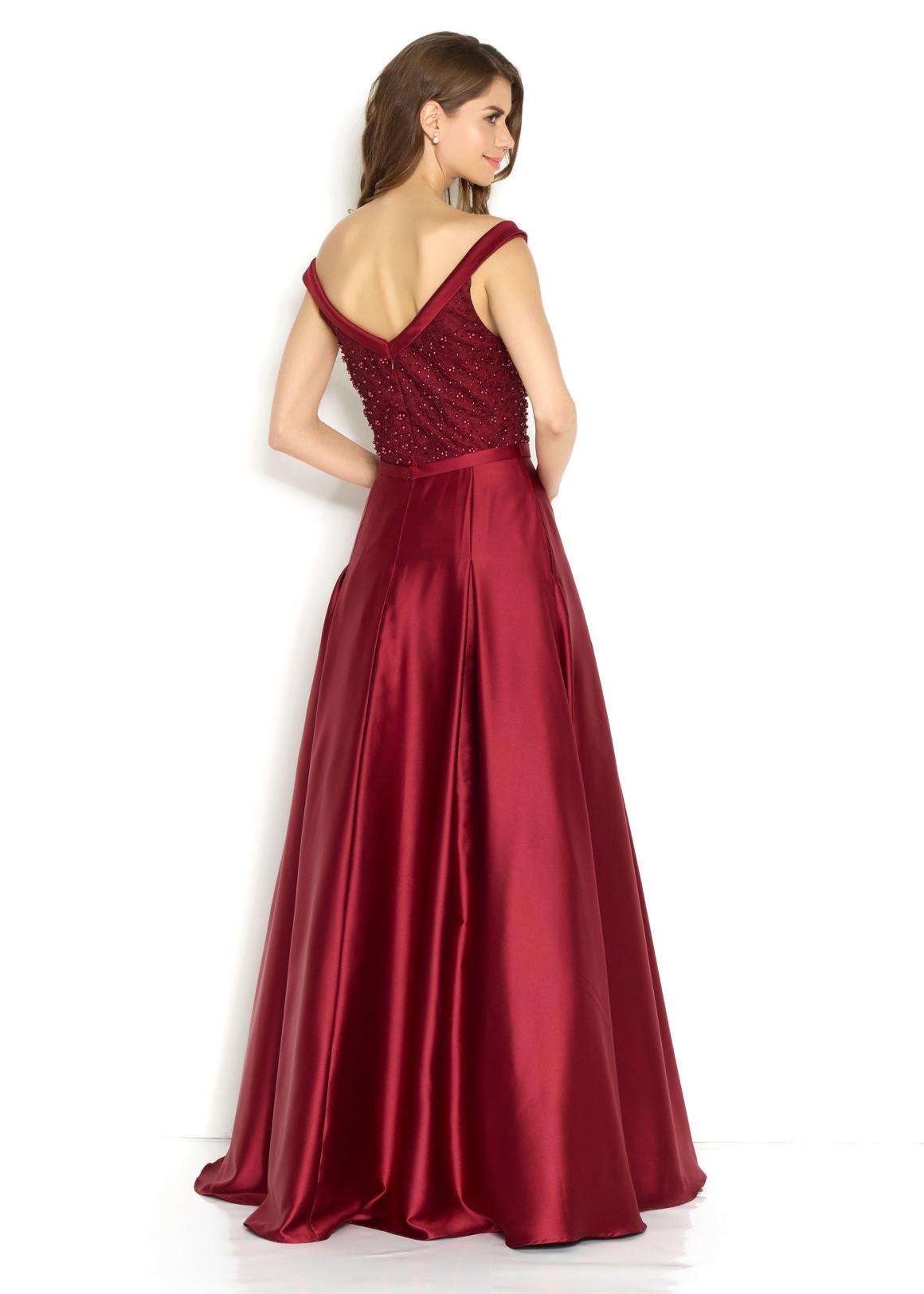 Schützenfest Königinnenkleid Hofdamen Hofstaat langes Kleid Oberteil mit Perlen bordeaux rot dunkelrot burgund Satin Rock mit Taschen Carmenausschnitt Rückenansicht