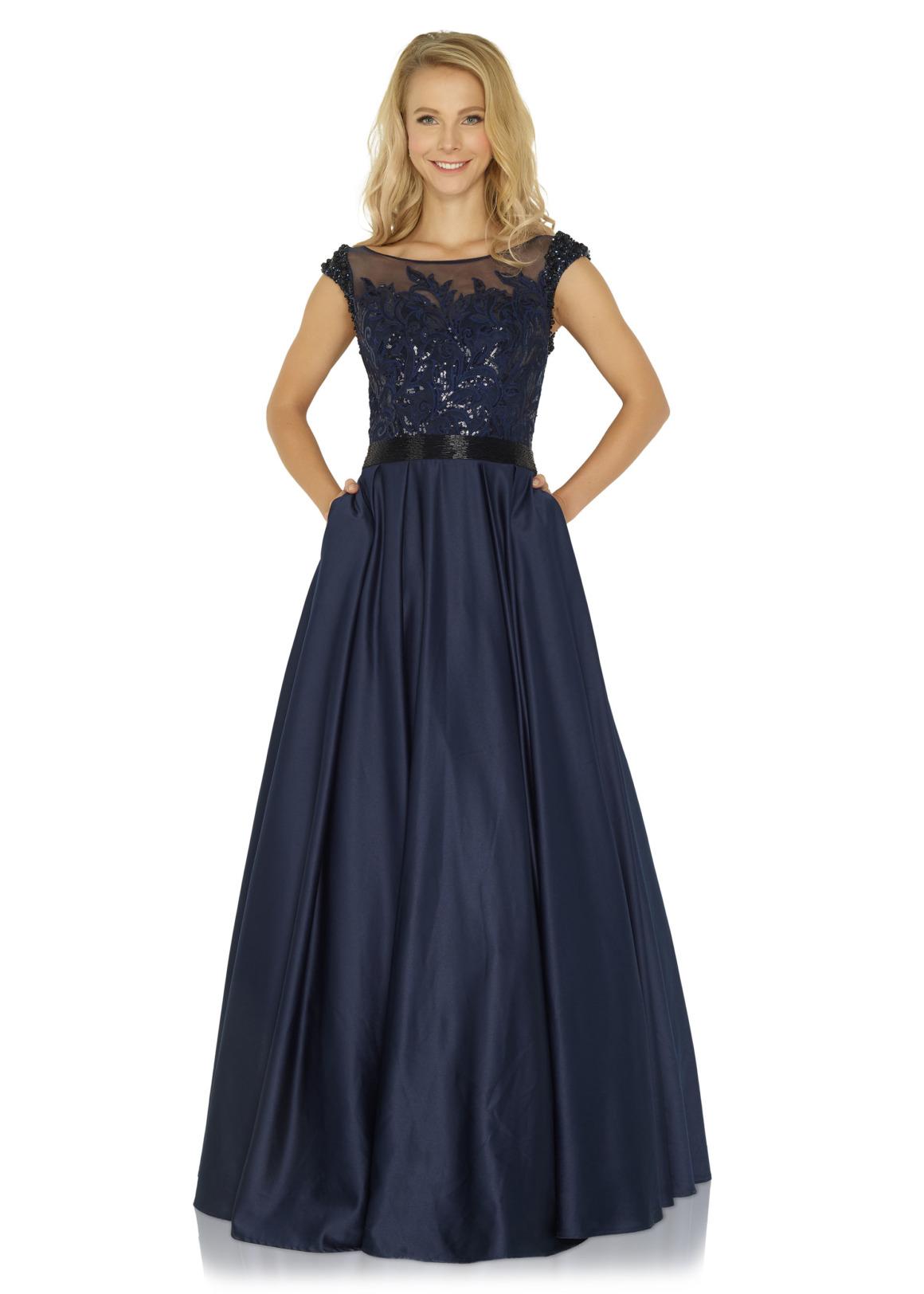 Schützenfest Königinnenkleid Hofdamen Hofstaat langes Kleid Oberteil mit Pailetten und Strass dunkelblau navy blau Satin Rock mit Taschen