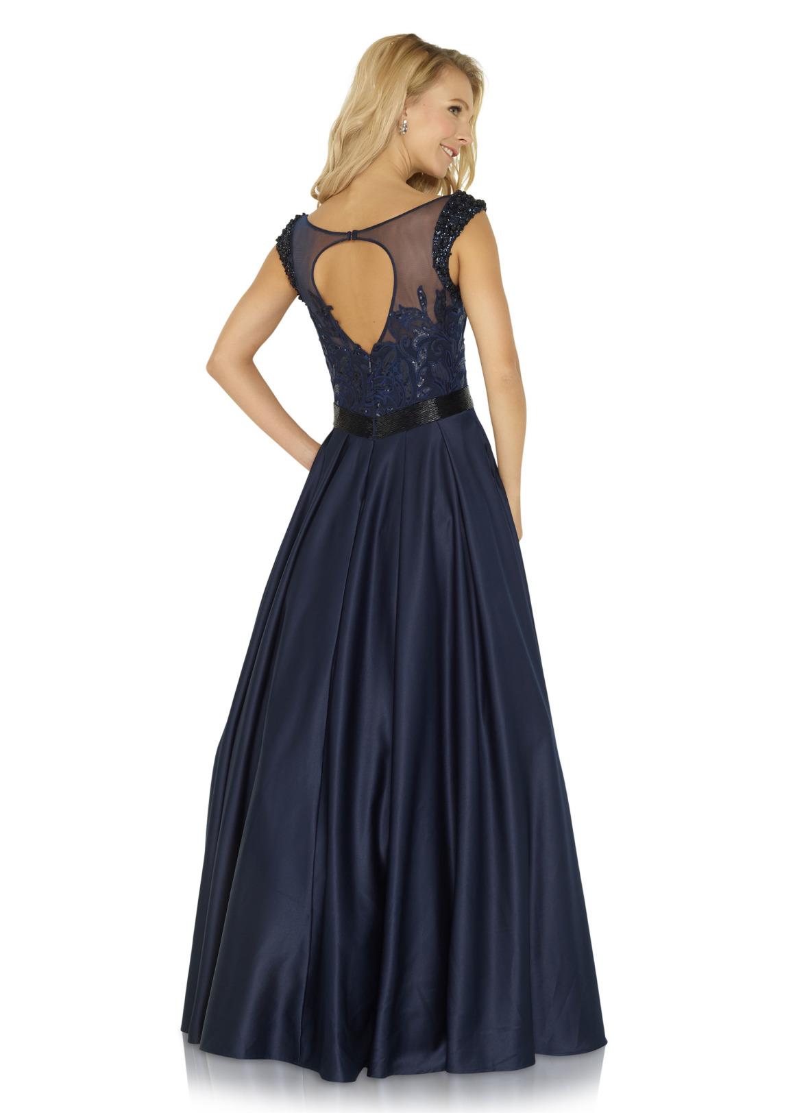 Schützenfest Königinnenkleid Hofdamen Hofstaat langes Kleid Oberteil mit Pailetten und Strass dunkelblau navy blau Satin Rock mit Taschen Rückenauschnitt