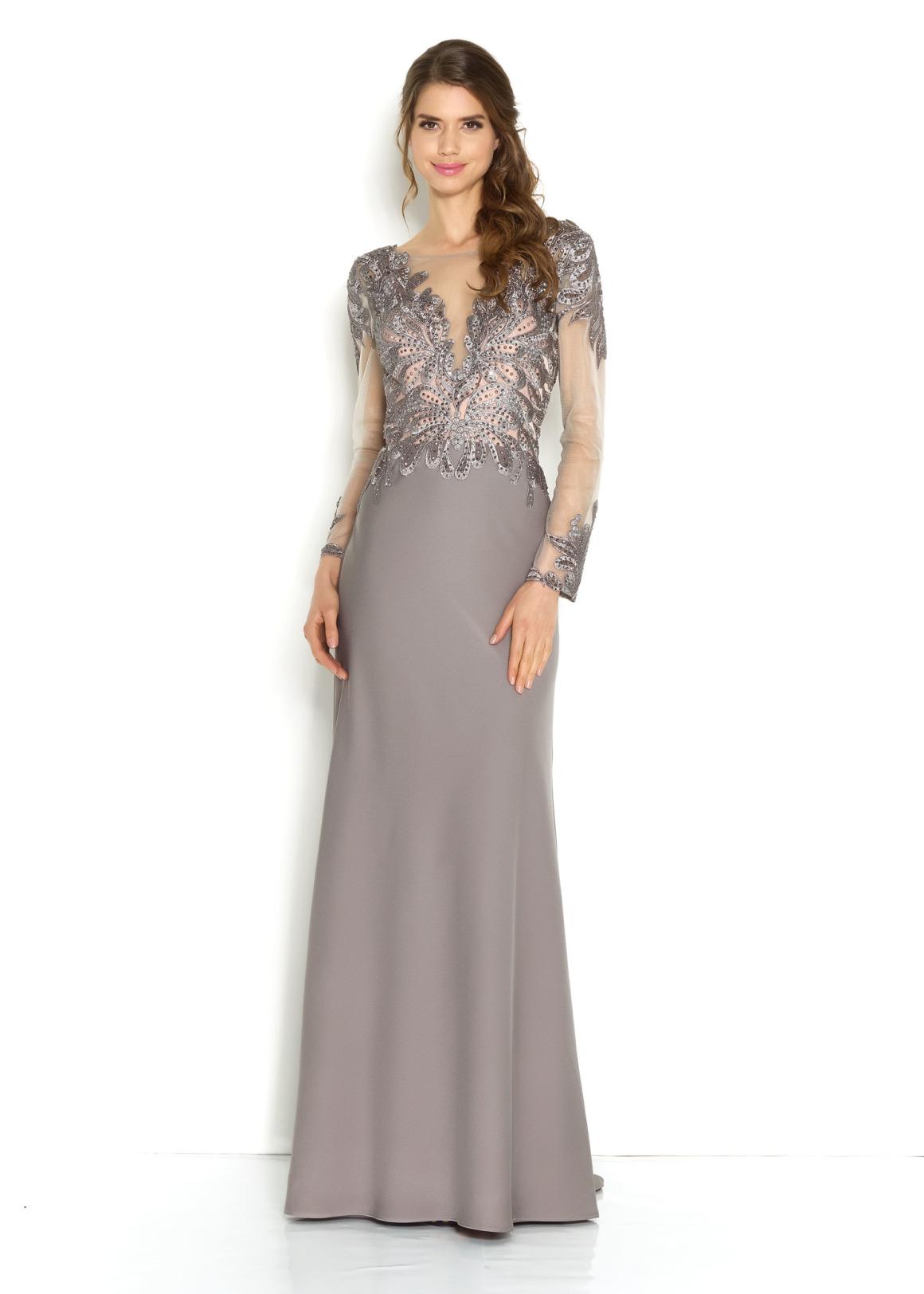 Silberhochzeit Goldhochzeit Abendkleider Festmode für Damen Jubiläumshochzeit langes Kleid in silber grau mit langem Arm Oberteil mit Stickerei Rock schlicht