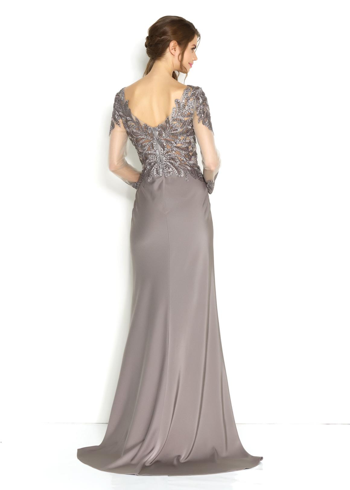 Silberhochzeit Goldhochzeit Abendkleider Festmode für Damen Jubiläumshochzeit langes Kleid in silber grau mit langem Arm Oberteil mit Stickerei Rock schlicht Rückenansicht