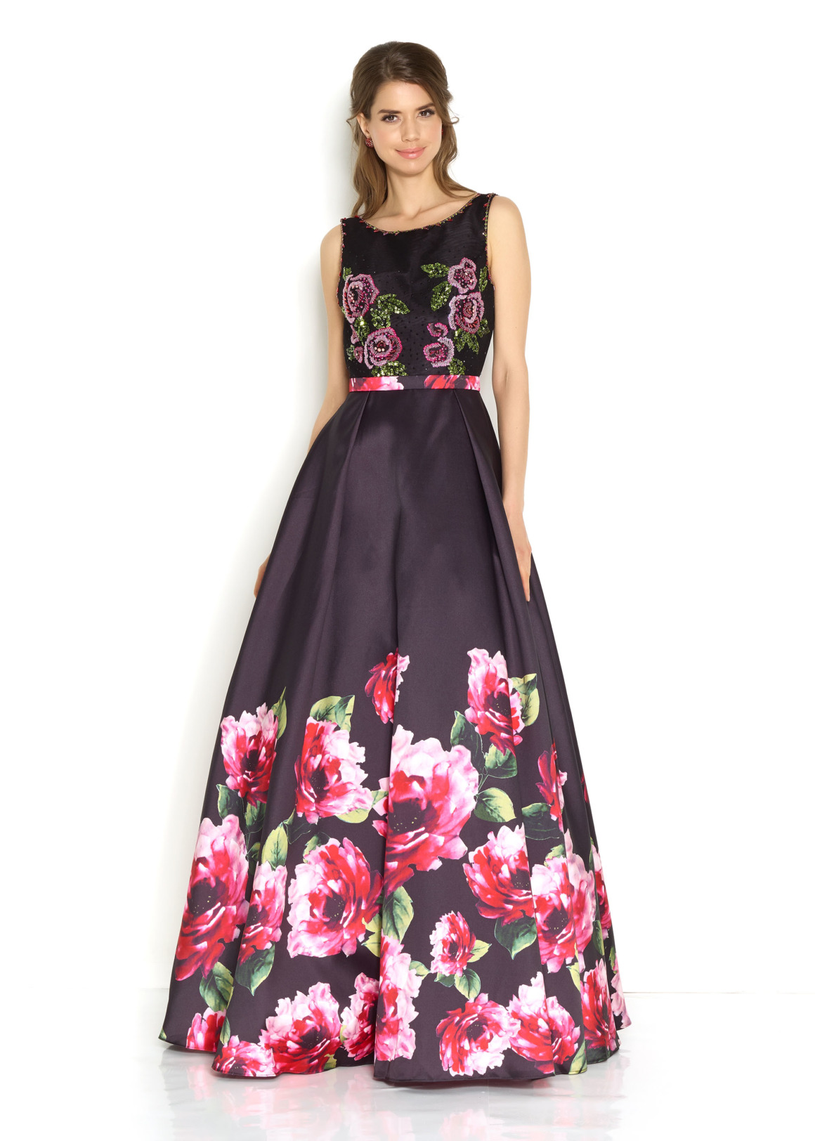 Schützenfest Königinnenkleid Hofdamen Hofstaat langes Ballkleid schwarz mit Blumendruck Print Oberteil mit Stickerei sehr ausgefallen langes Kleid