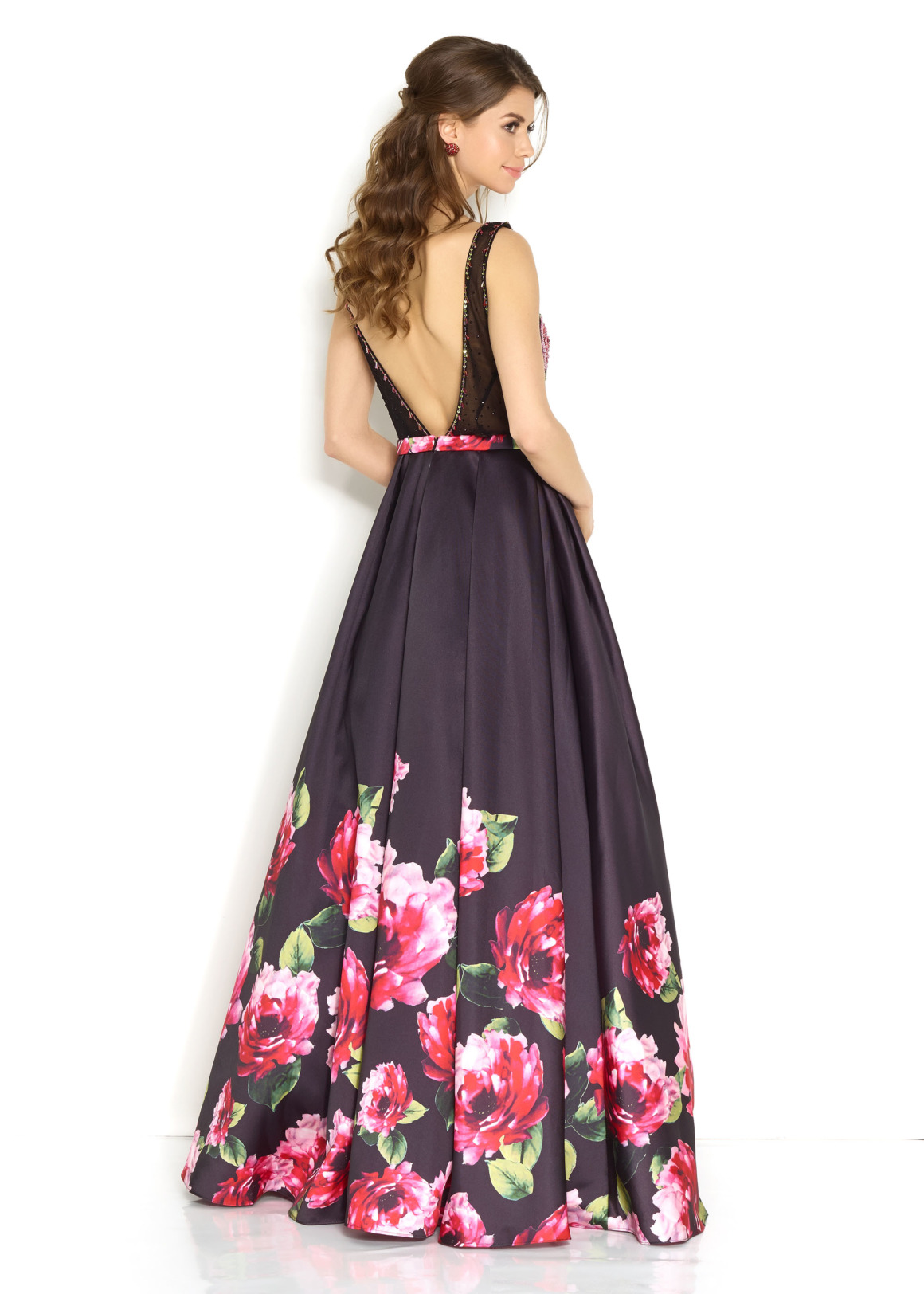 Schützenfest Königinnenkleid Hofdamen Hofstaat langes Ballkleid schwarz mit Blumendruck Print Oberteil mit Stickerei sehr ausgefallen langes Kleid Rücken V Ausschnitt