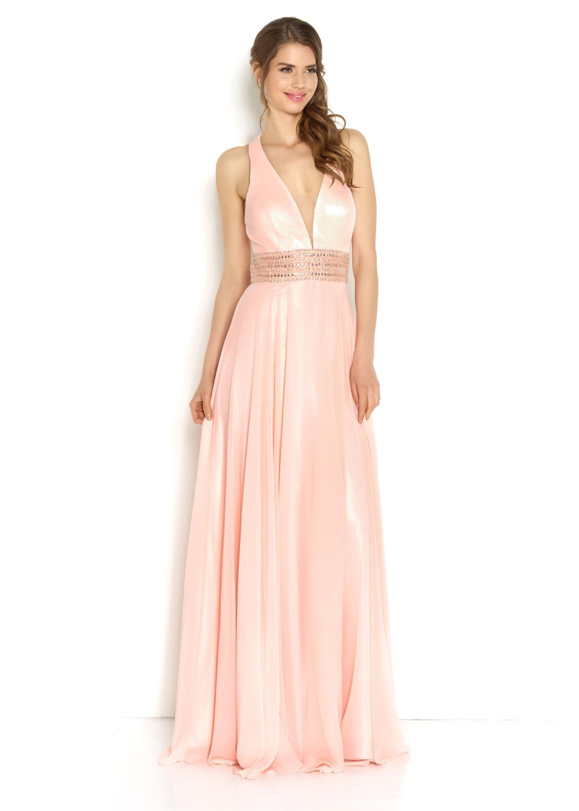 Brautjungfern Kleid Hochzeit Mode klassisch Trauzeugin Brides Maid  rose nude soft pastell