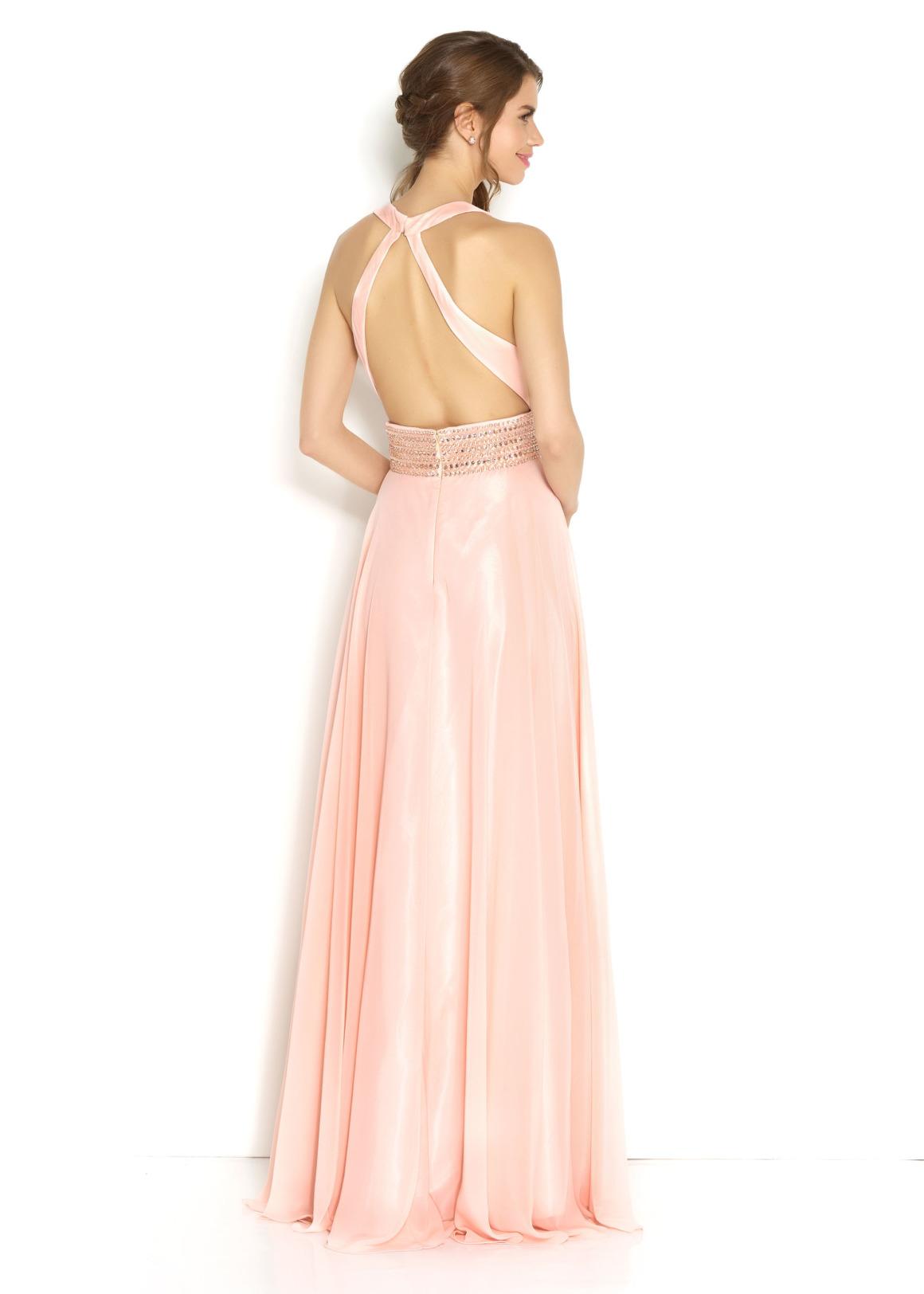 Brautjungfern Kleid Hochzeit Mode klassisch Trauzeugin Brides Maid nude rose soft pastell Rück Ansicht