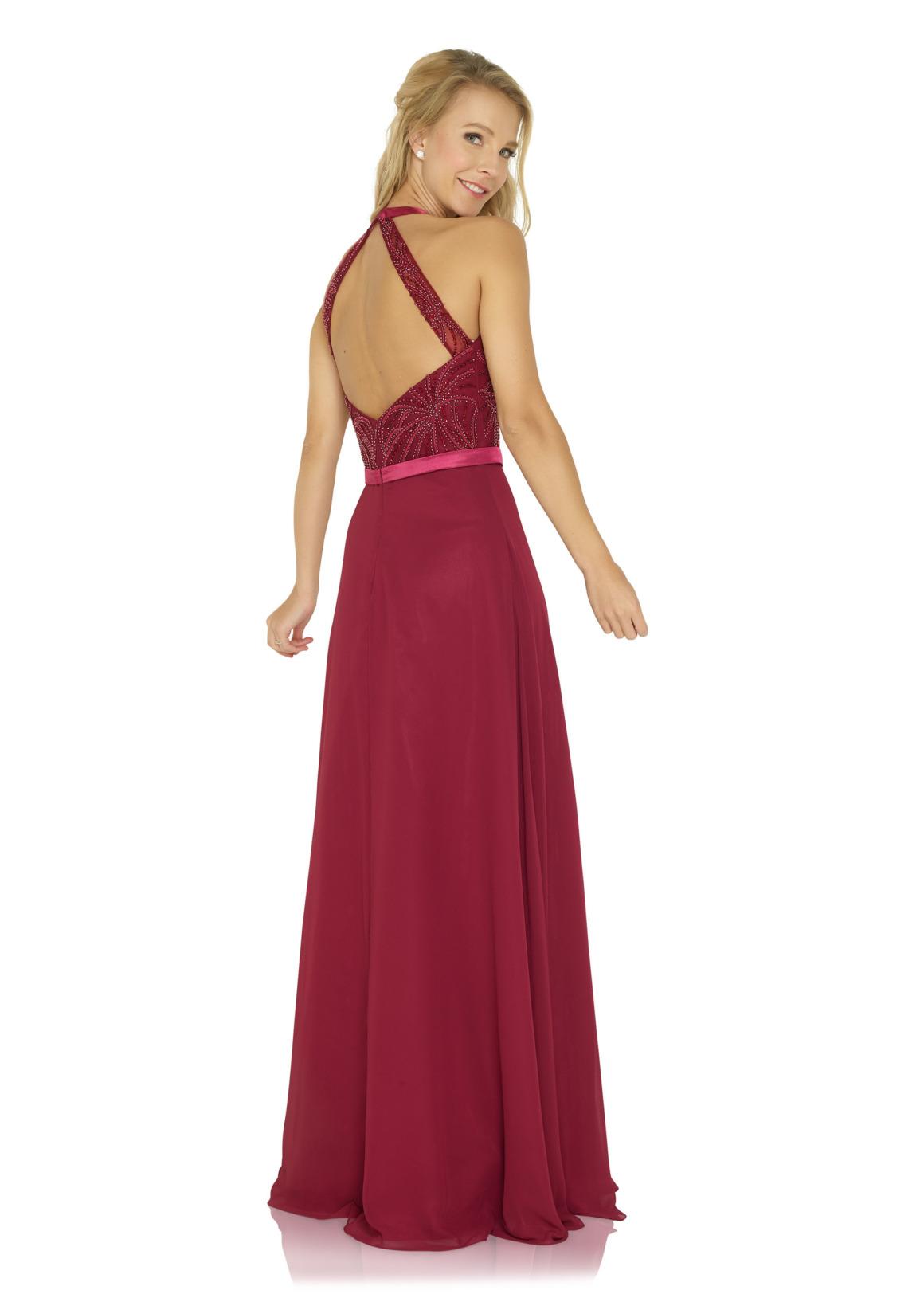 Schützenfest Abiball Hofdamen Hofstaat langes Kleid Oberteil mit Strass rot bordeaux Chiffon Rock Rückenansicht