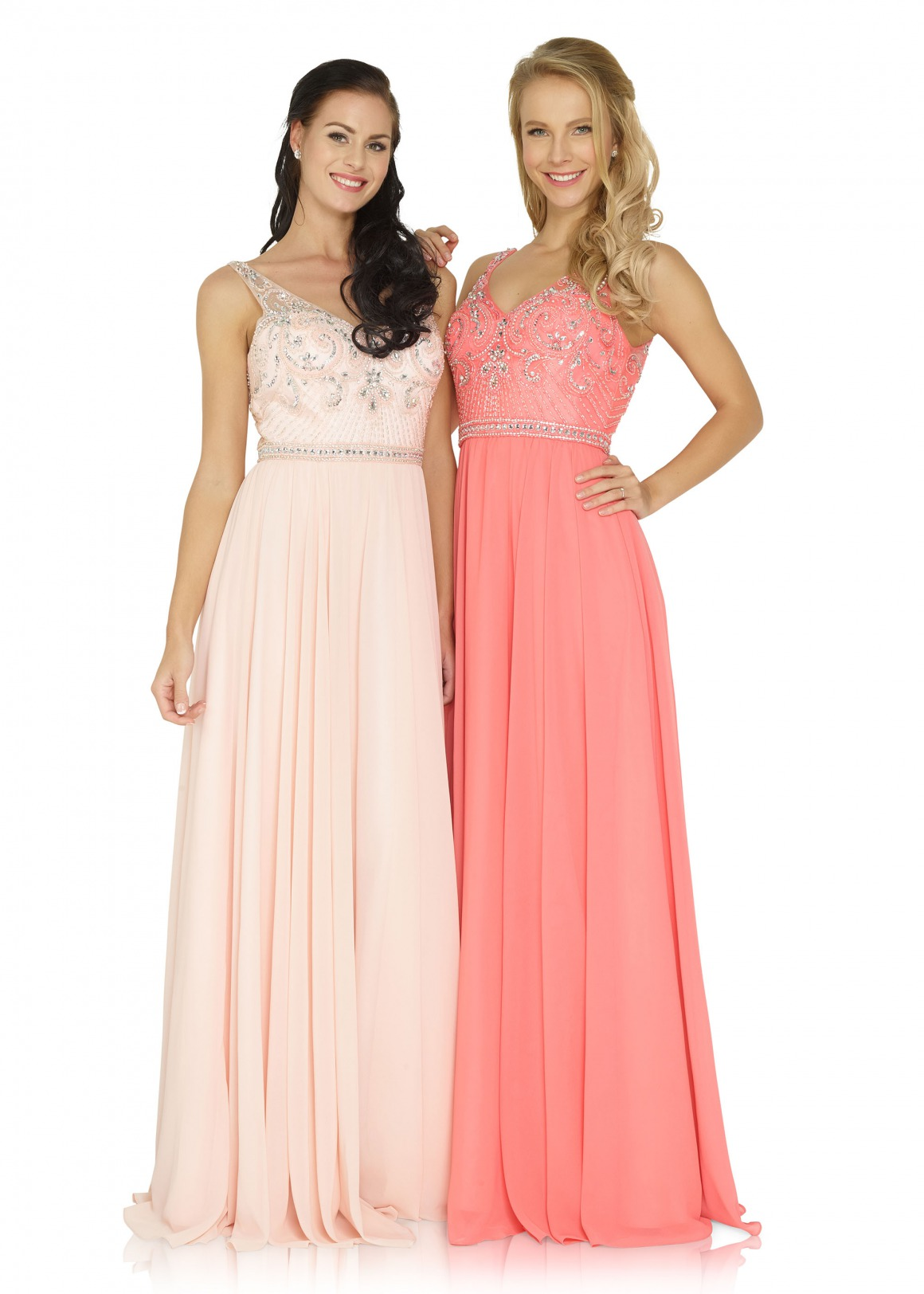 Brautjungfern Kleid Hochzeit Mode klassisch Trauzeugin Brides Maid  nude soft pastell