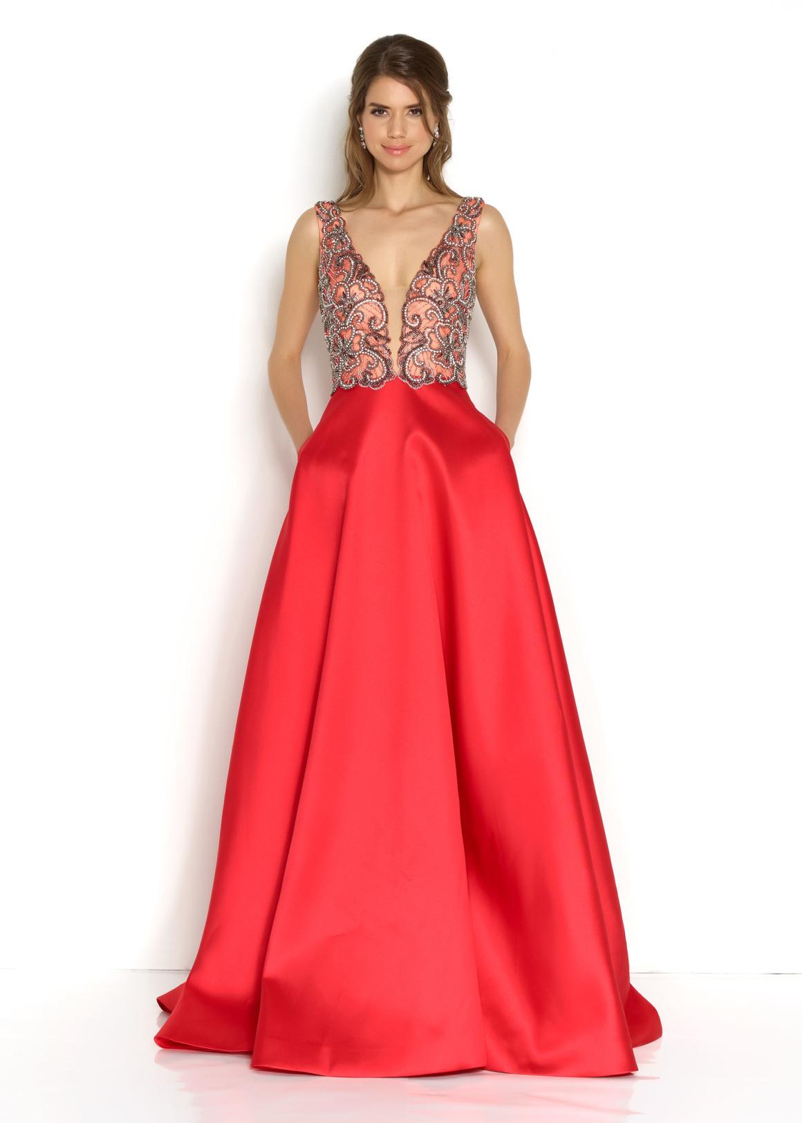 Schützenfest Königinnenkleid Hofdamen Hofstaat langes Kleid Oberteil mit Pailetten und Perlen V-Ausschnitt rot Satin Rock mit Taschen lang