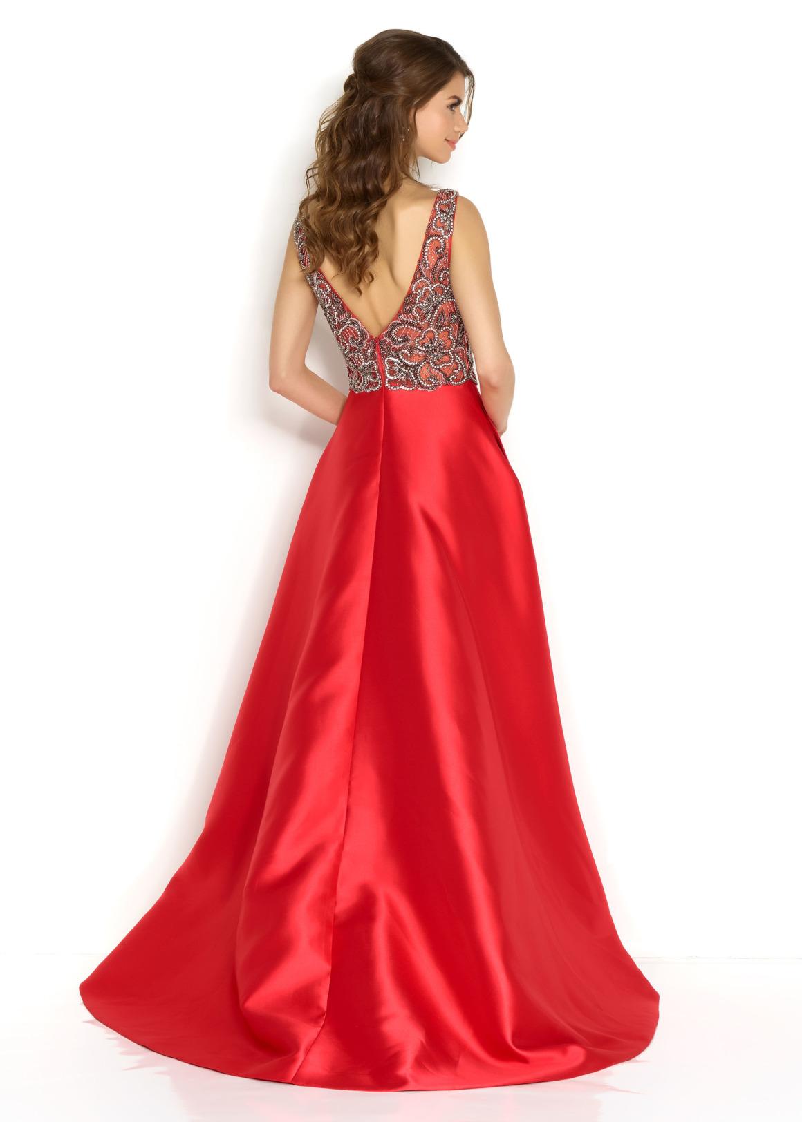 Schützenfest Königinnenkleid Hofdamen Hofstaat langes Kleid Oberteil mit Pailetten und Perlen V-Ausschnitt rot Satin Rock mit Taschen lang Rücken V-Ausschnitt