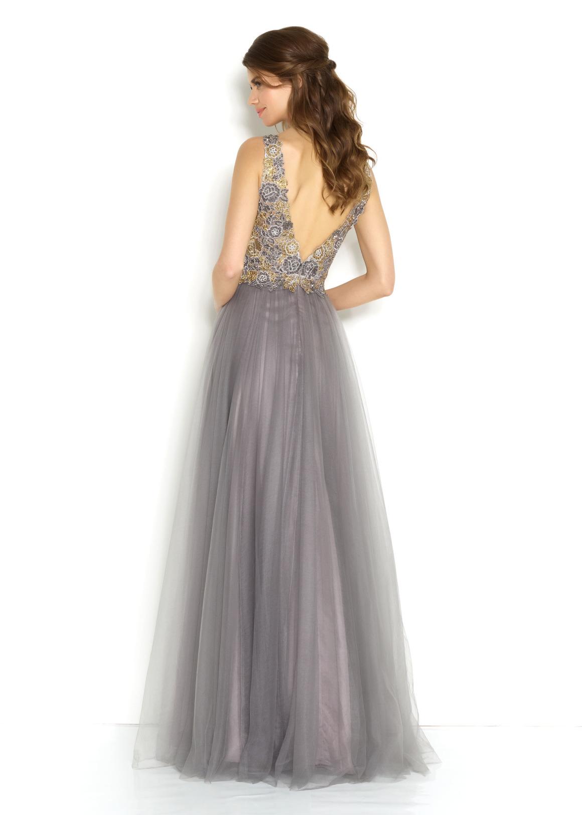 Schützenfest Königinnenkleid Abiball Hofdamen Hofstaat langes Kleid Oberteil mit Pailetten und Perlen silber grau Tüll Rock Rücken V-Ausschnitt