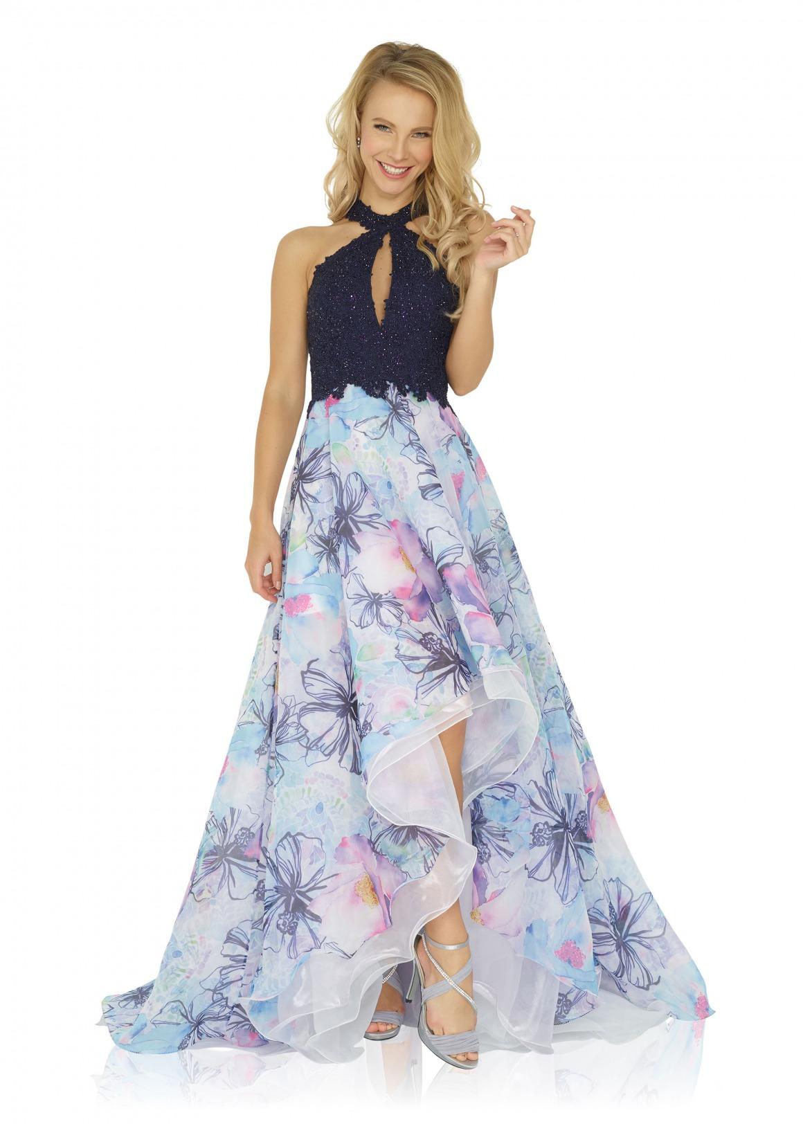 Ballkleid Festmode Anlass Mode langes Kleid Oberteil mit Perlen Neckholder navy blau dunkelblau Rock Chiffon mit Blumendruck vokuhila