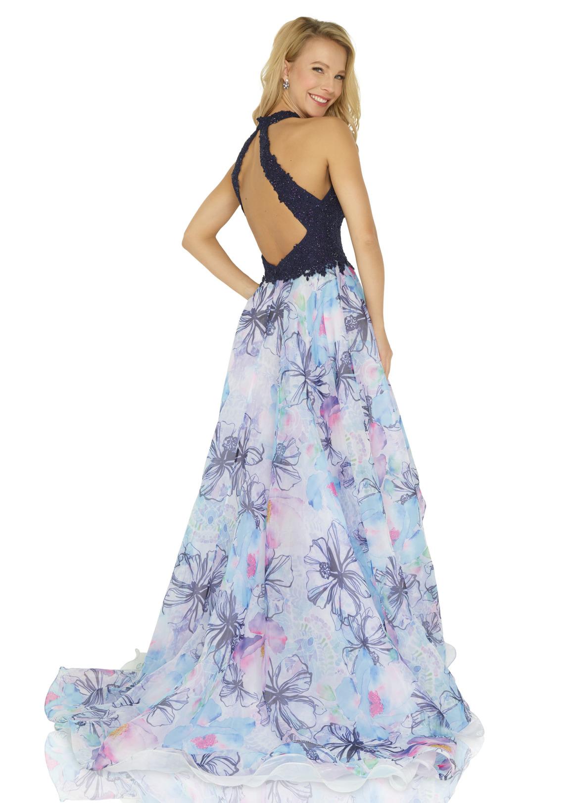 Ballkleid Festmode Anlass Mode langes Kleid Oberteil mit Perlen Neckholder navy blau dunkelblau Rock Chiffon mit Blumendruck vokuhila  Rückenausschnitt