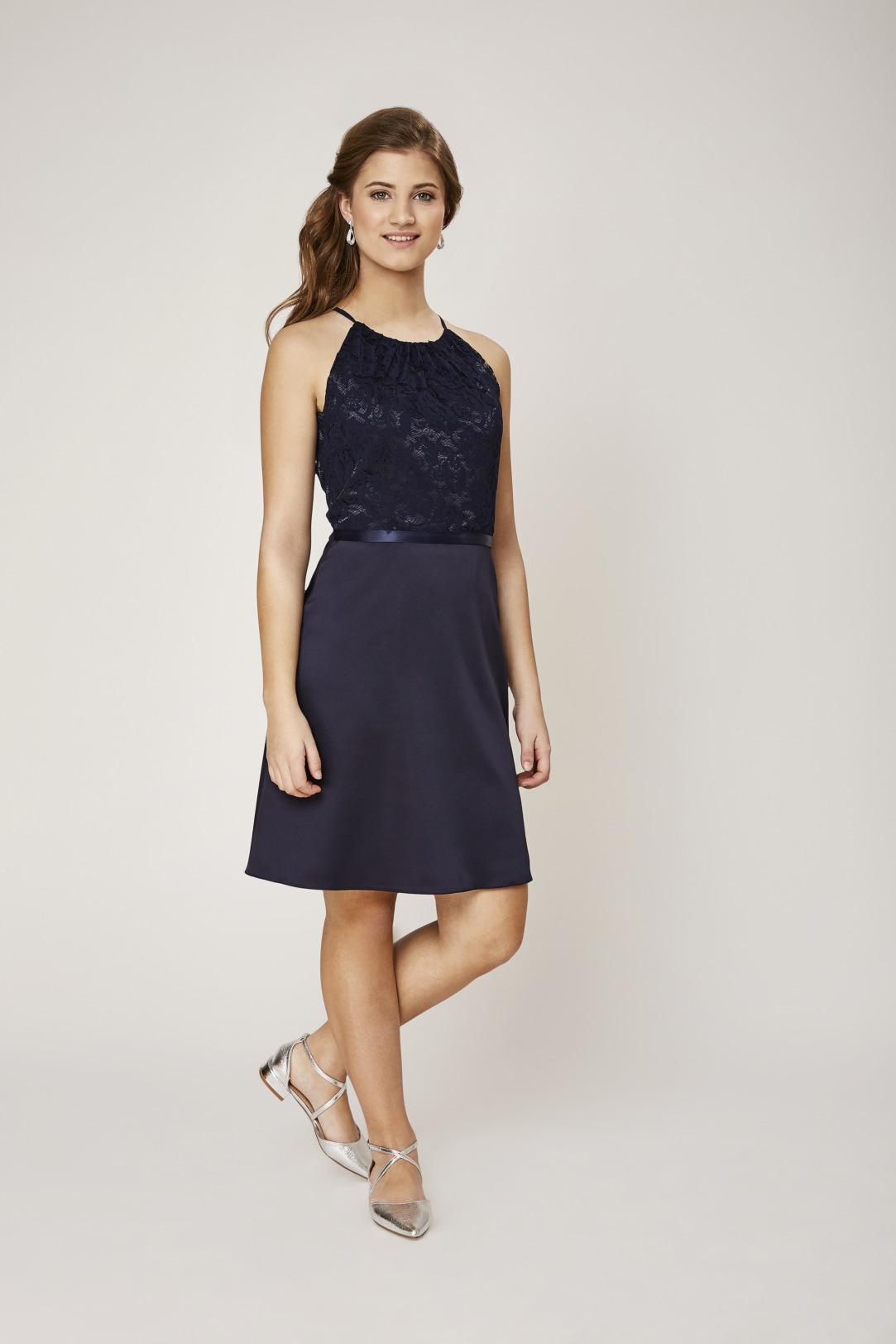 Konfirmation Abendkleider schön ausgefallen jung dunkelblau navy schlicht Oberteil aus Spitze Rock aus Satin kurzes Kleid