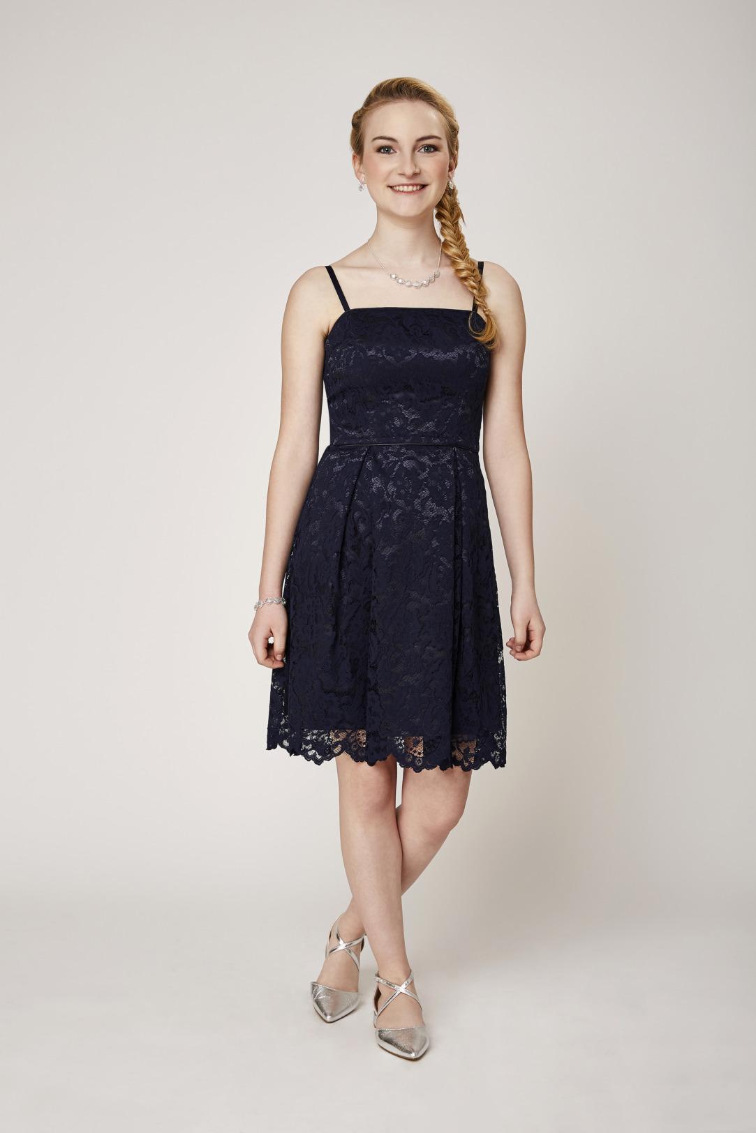 Konfirmation Abendkleider schön ausgefallen jung dunkelblau navy schlicht ganz aus Spitze kurzes Kleid