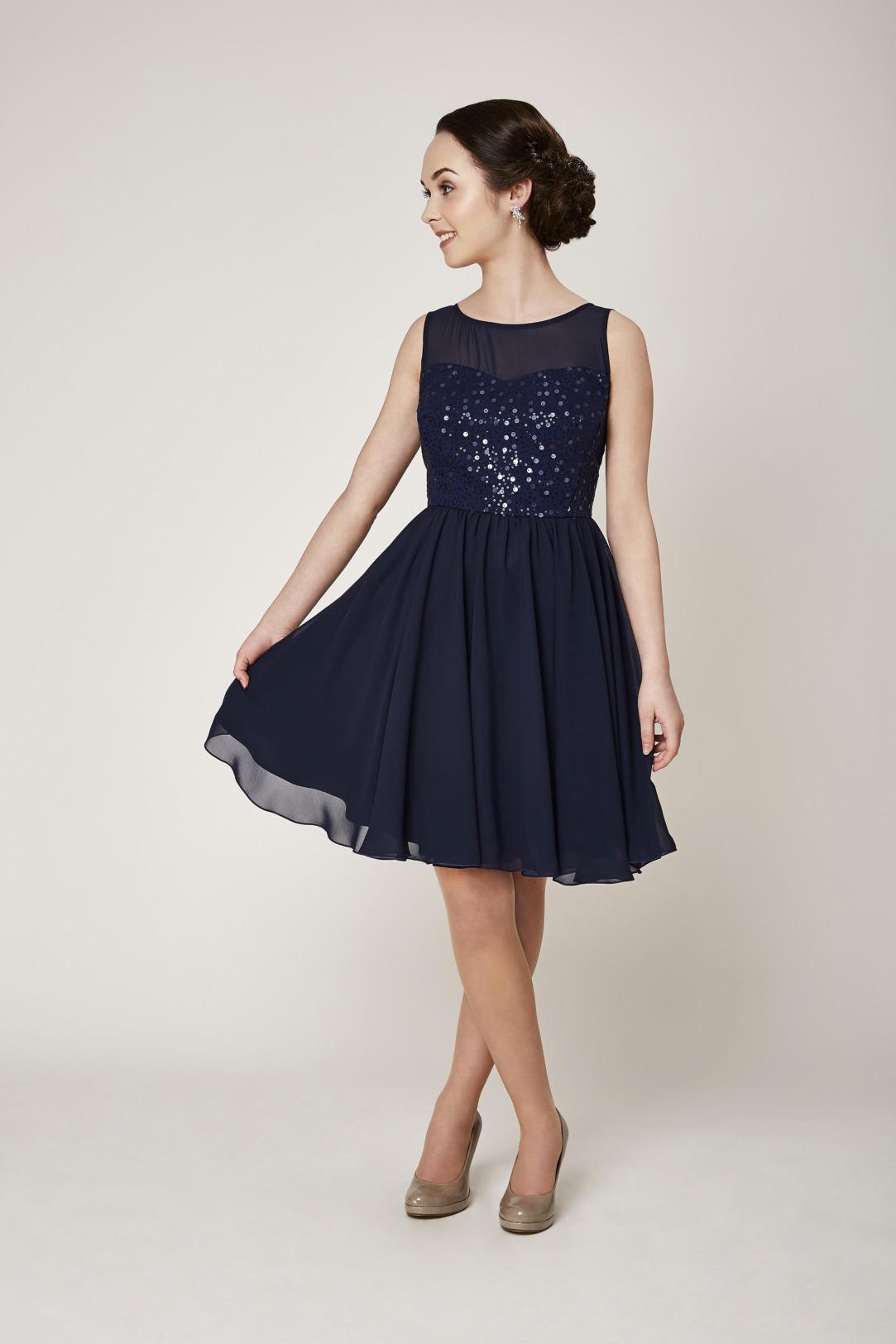 Konfirmation Abendkleider schön ausgefallen jung dunkelblau navy Oberteil mit Pailetten schlicht Chiffon kurzes Kleid