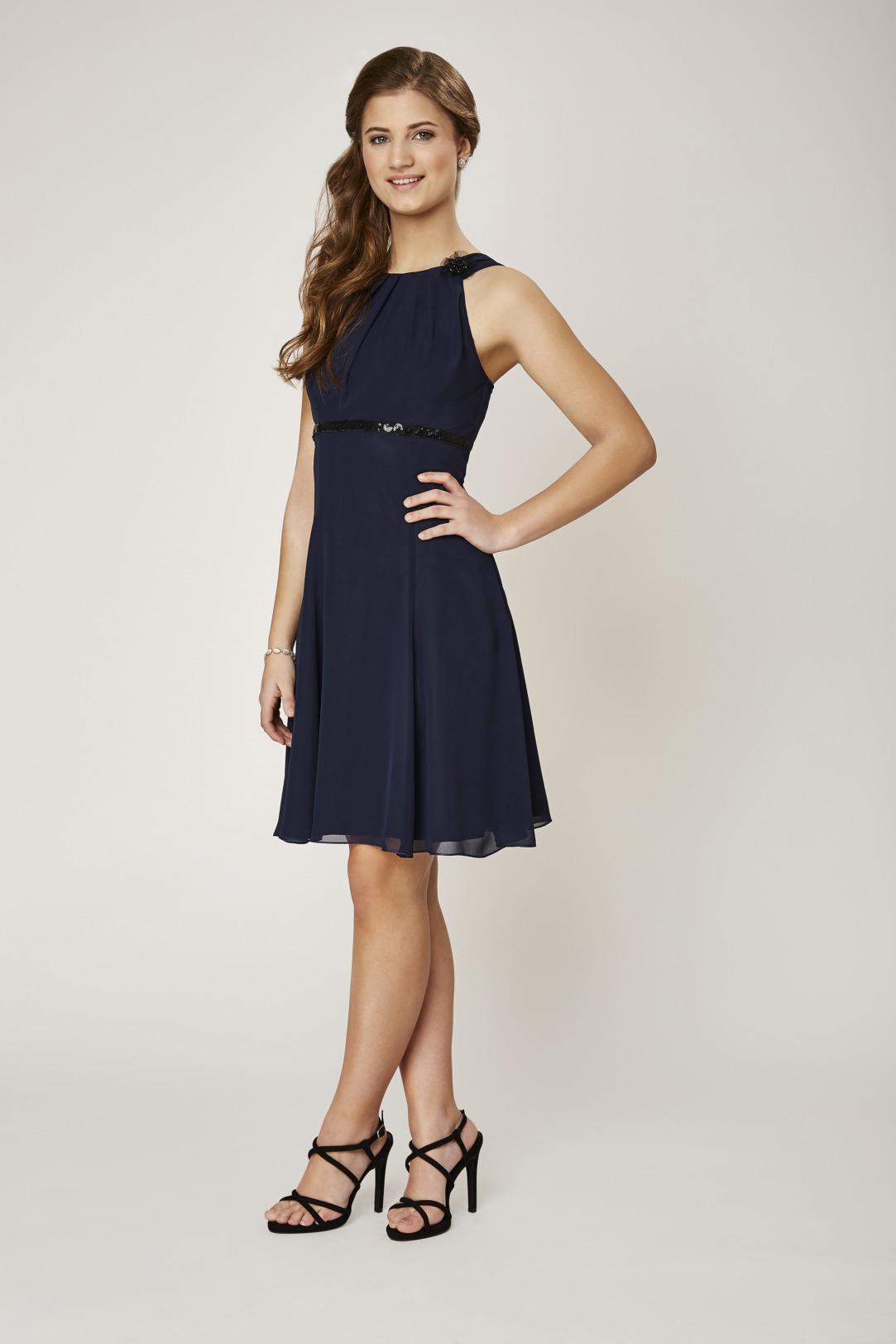 Konfirmation Abendkleider schön ausgefallen jung dunkelblau navy schlicht Chiffon kurzes Kleid