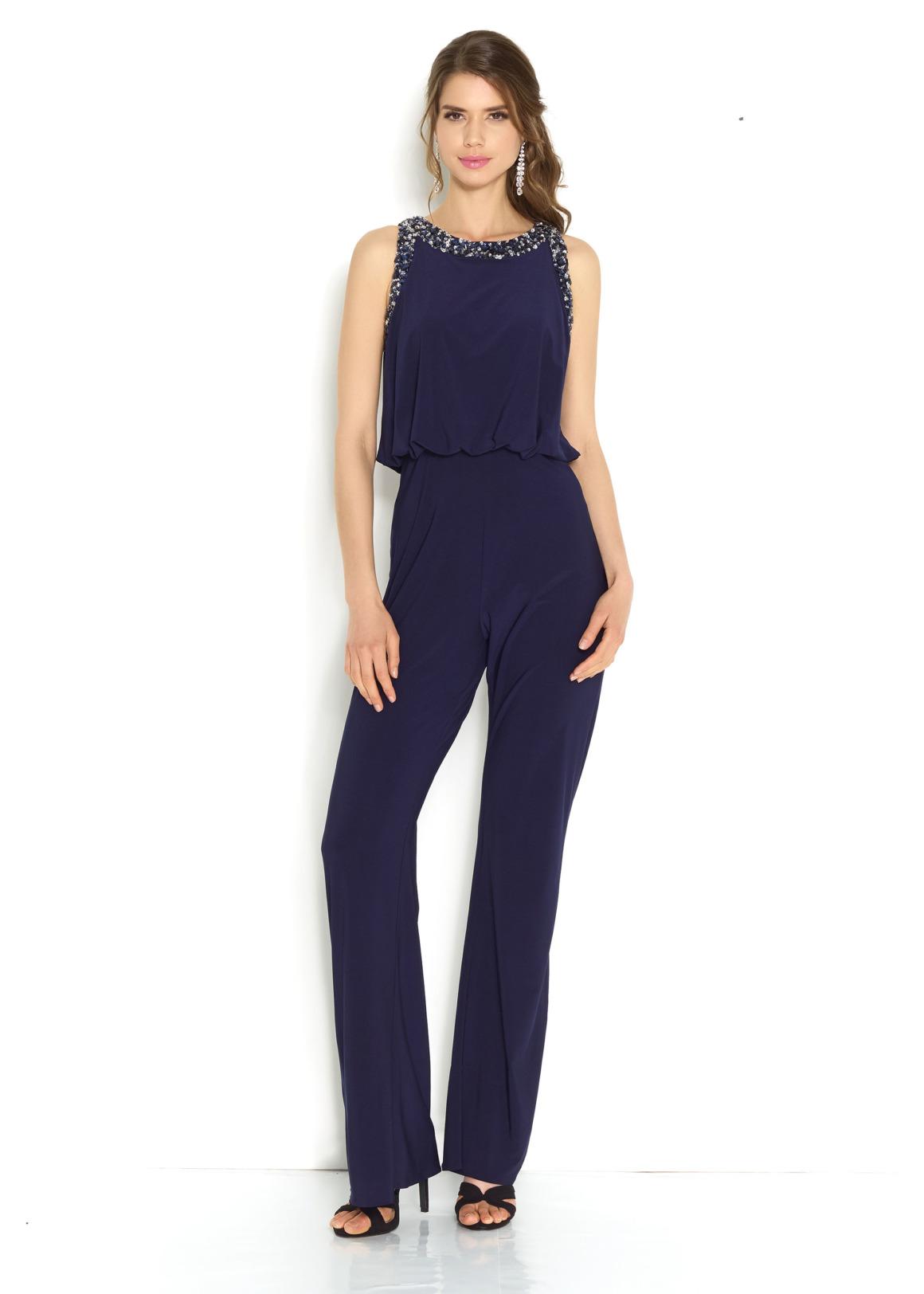 Hosenanzug Jumpsuit Anlass Konfirmation Mode für Damen Abiball Hochzeit Gast Kleidung für Eltern navy dunkelblau