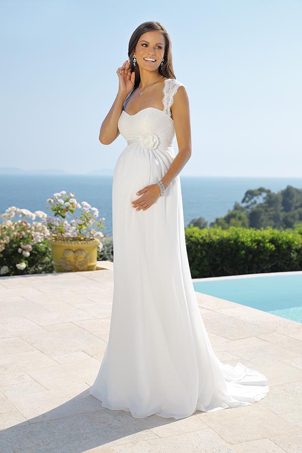 Brautkleider Hochzeitskleider für Schwangere Ladybird Empire Stil Style Form lang sehr schlicht aus Chiffon Corsagenkleid oder mit Trägern kleine Schleppe