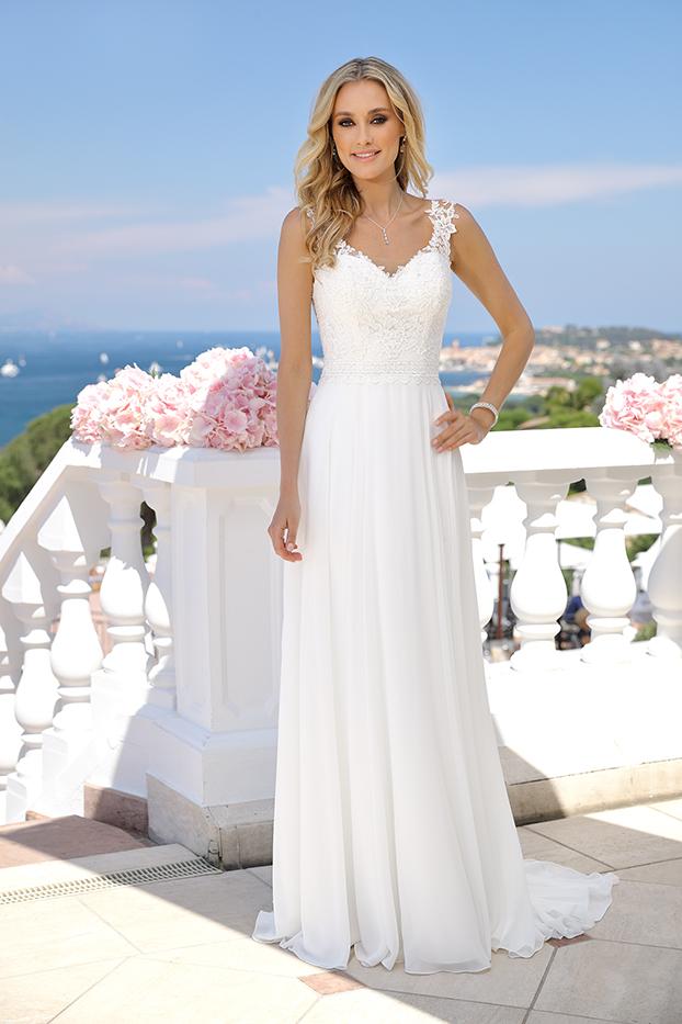 Brautkleider Hochzeitskleider Ladybird Empire Stil Style Form lang schlicht Chiffon Rock Spitzen Oberteil V-Ausschnitt mit Schleppe