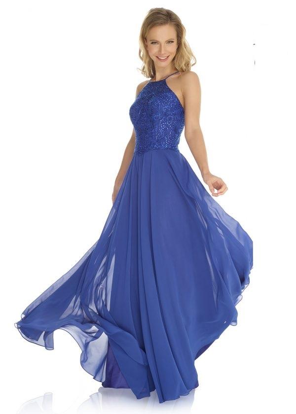 Schützenfest Abiball Hofdamen Hofstaat langes Kleid in royal blau Neckholder mit Chiffonrock