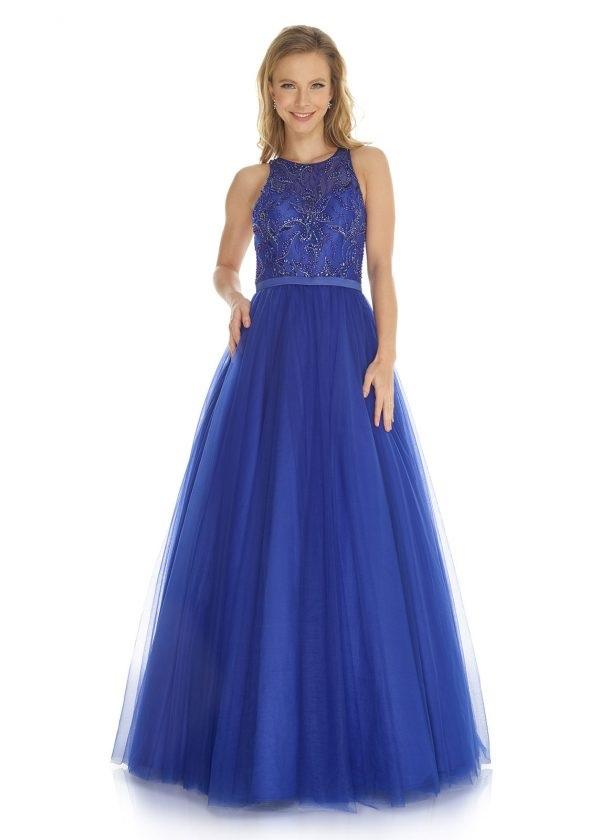 Schützenfest Königinnenkleid Hofdamen Hofstaat langes Kleid mit Tüllrock in royal blau