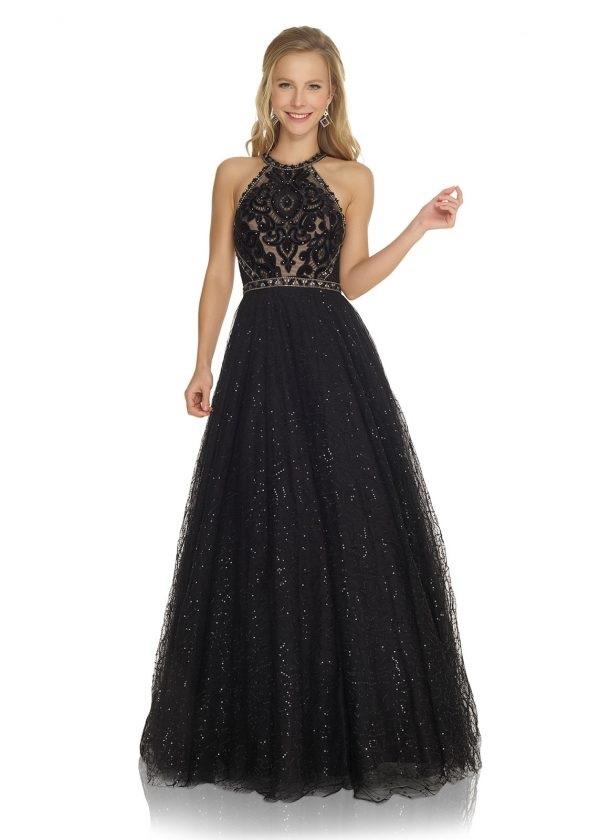 Schützenfest Königinnenkleid Hofdamen Hofstaat aufwendiges langes Ballkleid in schwarz mit Tüllrock und glitzer Strass und Perlen