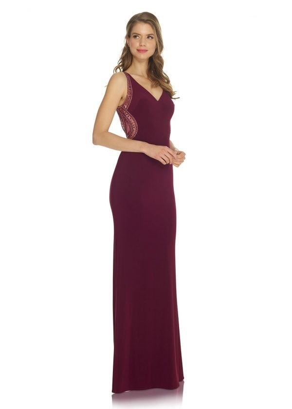 Schützenfest Abiball Hofdamen Hofstaat langes Kleid mit V-Ausschnitt in bordeaux rot transparenter Rücken