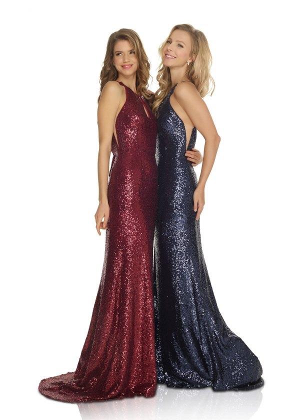 Schützenfest Abifall Hofdamen Hofstaat langes Kleid aus Pailletten mit V-Ausschnitt navy dunkelblau und rot