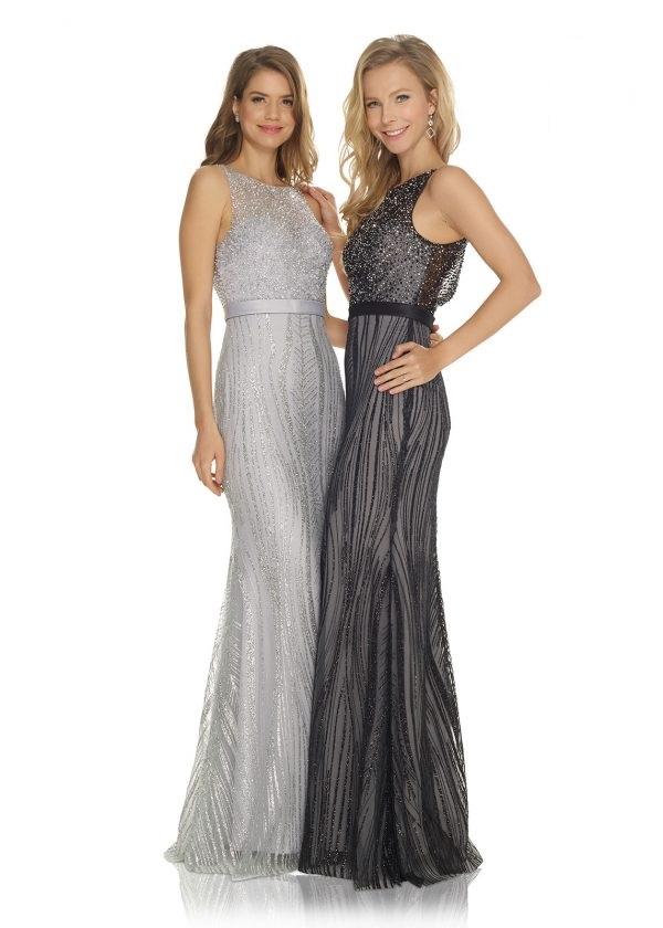 Schützenfest Abifall Hofdamen Hofstaat langes Kleid ausgeallen jung mit glitzer Strass und Perlen grau silber und schwarz
