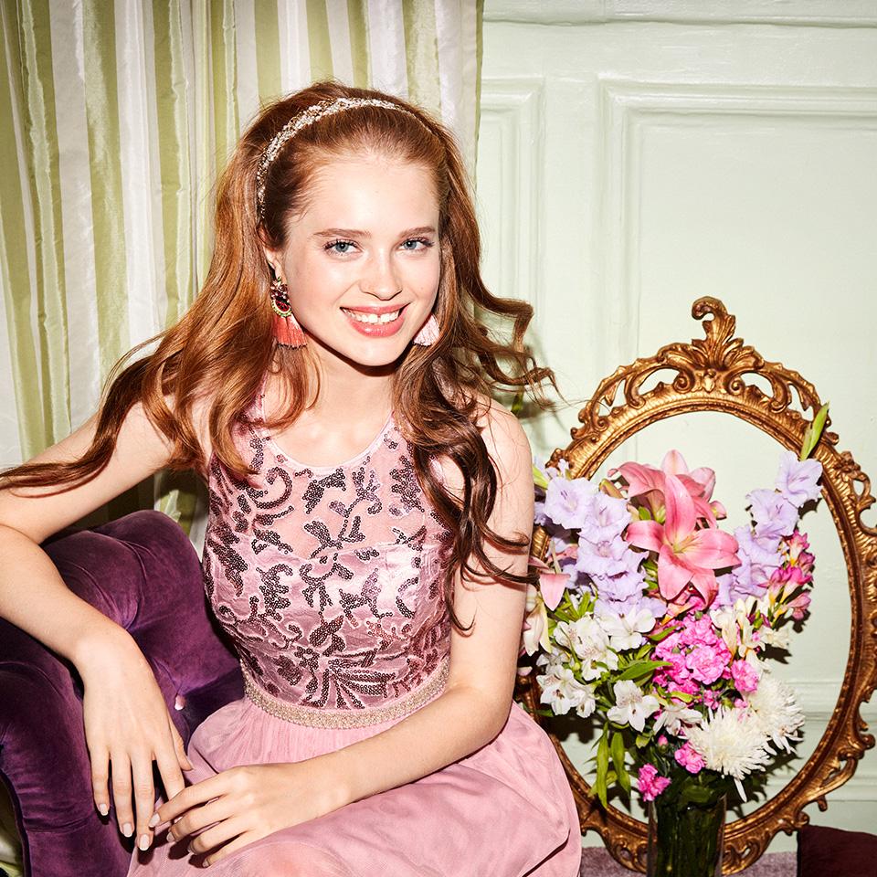 Abiball Konfirmation Abendkleider Ballkleider Vera Mont VM schön ausgefallen jung Tüll Rock rose nude mit Pailetten Stickerein kurzes Kleid