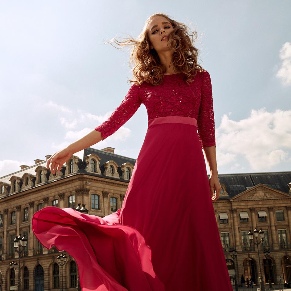 Anlass Kleid Damen Eltern Abiball Festmode für Damen Vera Mont rot mit Spitze und langem Arm lang