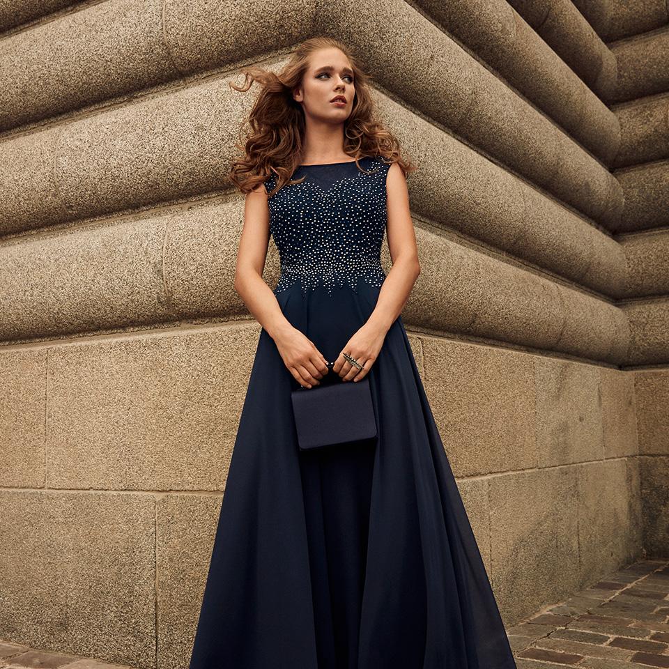 Anlass Kleid Damen Eltern Abiball Festmode für Damen Vera Mont navy dunkelblau mit Perlen lang