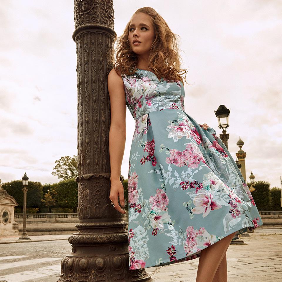 Anlass Kleid Damen Eltern Kommunion Konfirmation Abiball Festmode für Damen Vera Mont Blumendruck pink rose grün 50 jahre Stil kurz