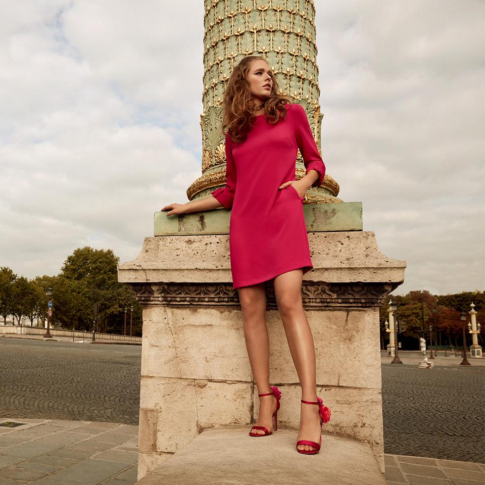 Anlass Kleid Damen Eltern Kommunion Konfirmation Abiball Festmode für Damen Vera Mont pink mit Arm