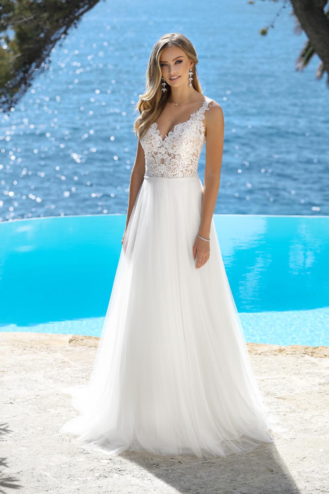 Brautkleider Hochzeitskleider Ladybird Empire Stil Style Form Spitze lang schlicht Vintage mit V Ausschnitt Spitzen Träger Softtüll Rock Ansicht vorne