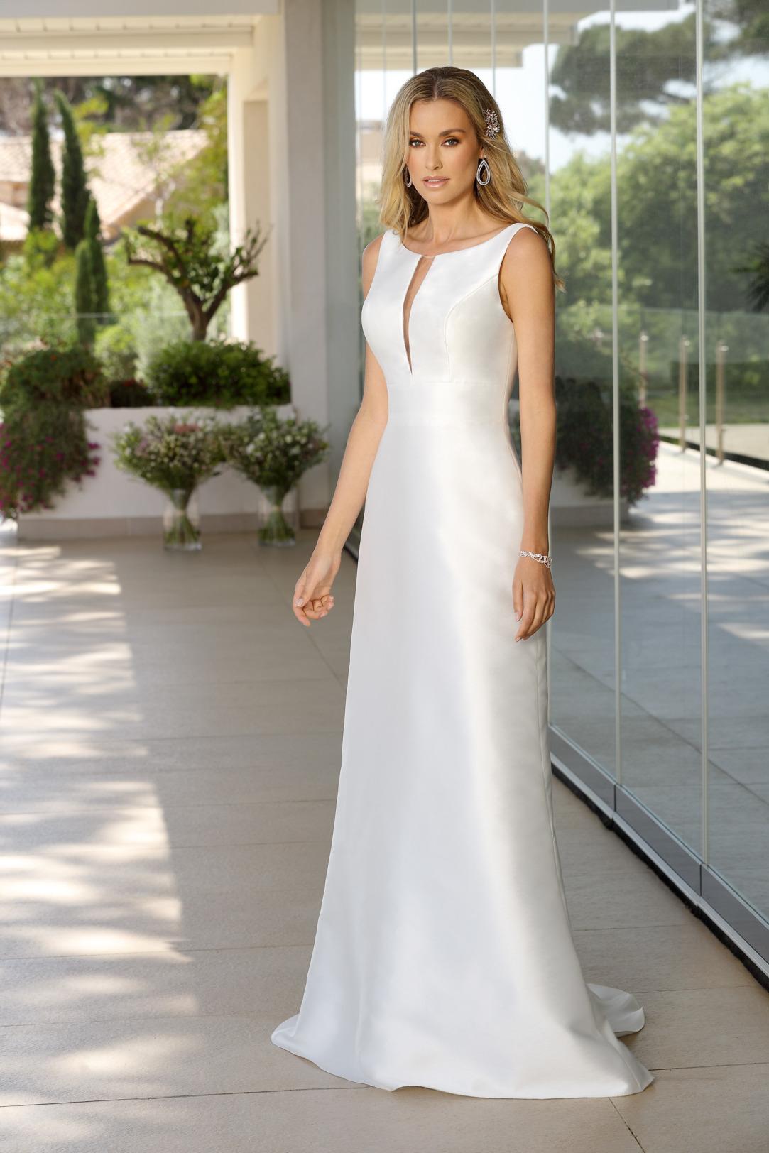 Brautkleider Hochzeitskleider Ladybird Empire Stil Style Form lang sehr schlicht Satin 50er Jahre Stil ohne Schleppe Seitenansicht vorne
