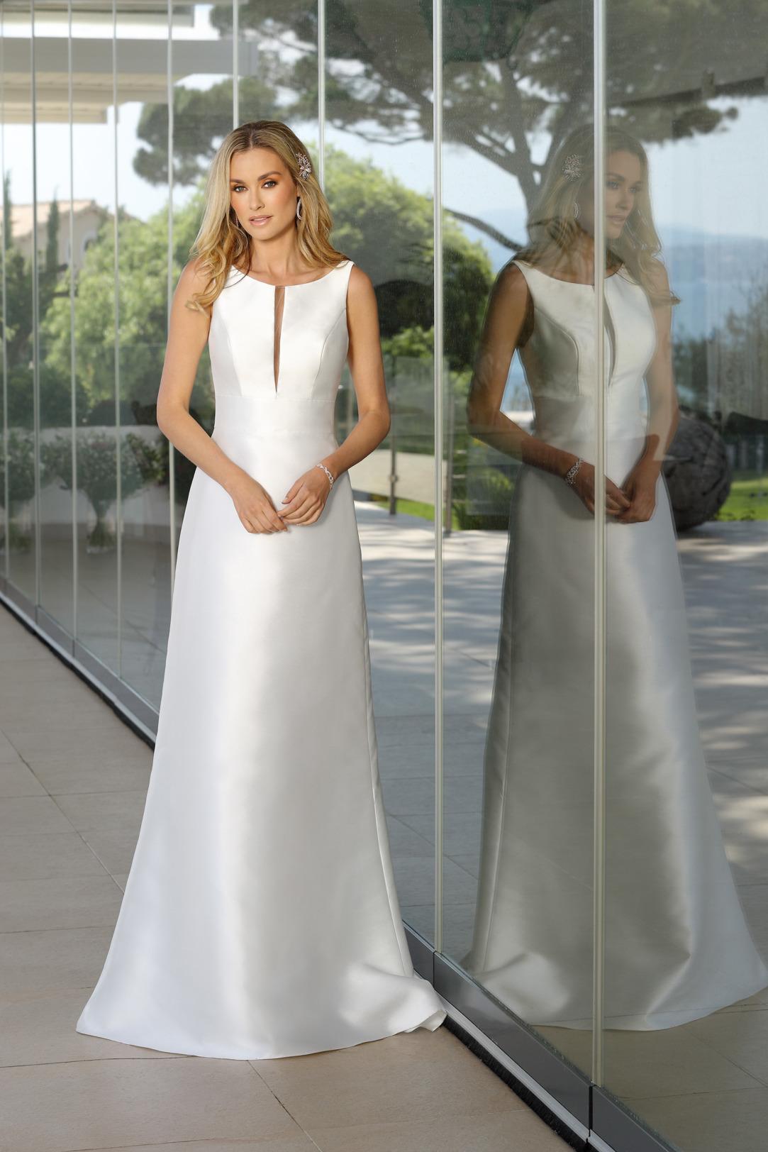 Brautkleider Hochzeitskleider Ladybird Empire Stil Style Form lang sehr schlicht Satin 50er Jahre Stil ohne Schleppe