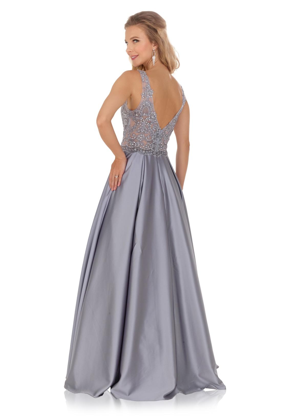 Schützenfest Königinnenkleid Hofdamen Hofstaat Kleid silber grau elegant glitzer Satin Rock Spitze Oberteil V-Ausschnitt