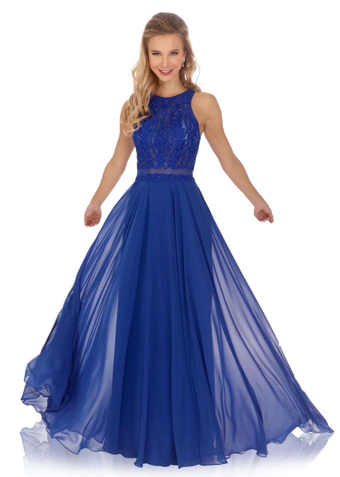 Schützenfest Königinnenkleid Hofdamen Hofstaat Kleid marine royal blau elegant glitzer Chiffon Rock