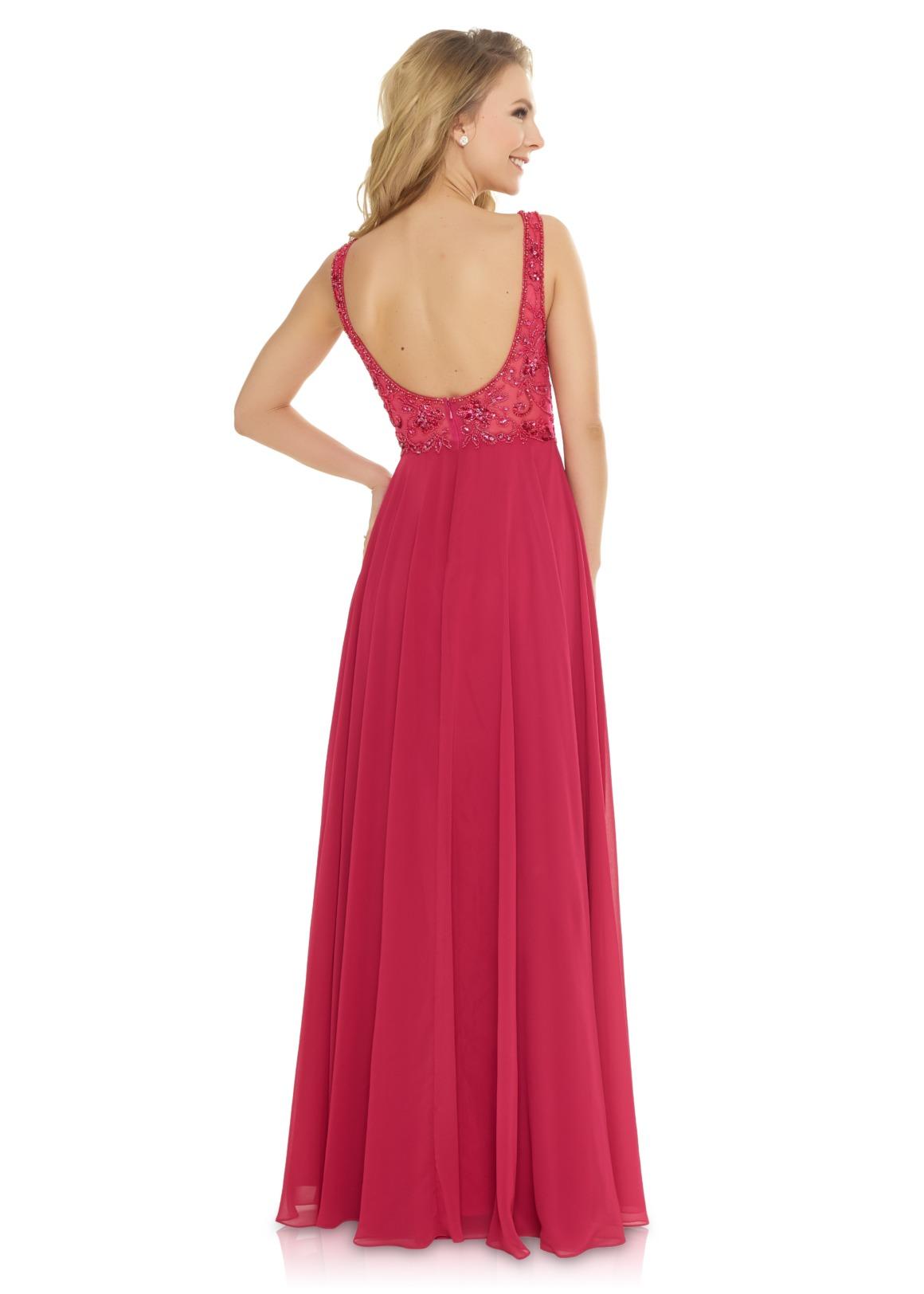Schützenfest Festmode Anlass Brautjungfern Kleid Hochzeit Mode klassisch Trauzeugin Brides Maid  berry rot soft pastell Rücken Ansicht