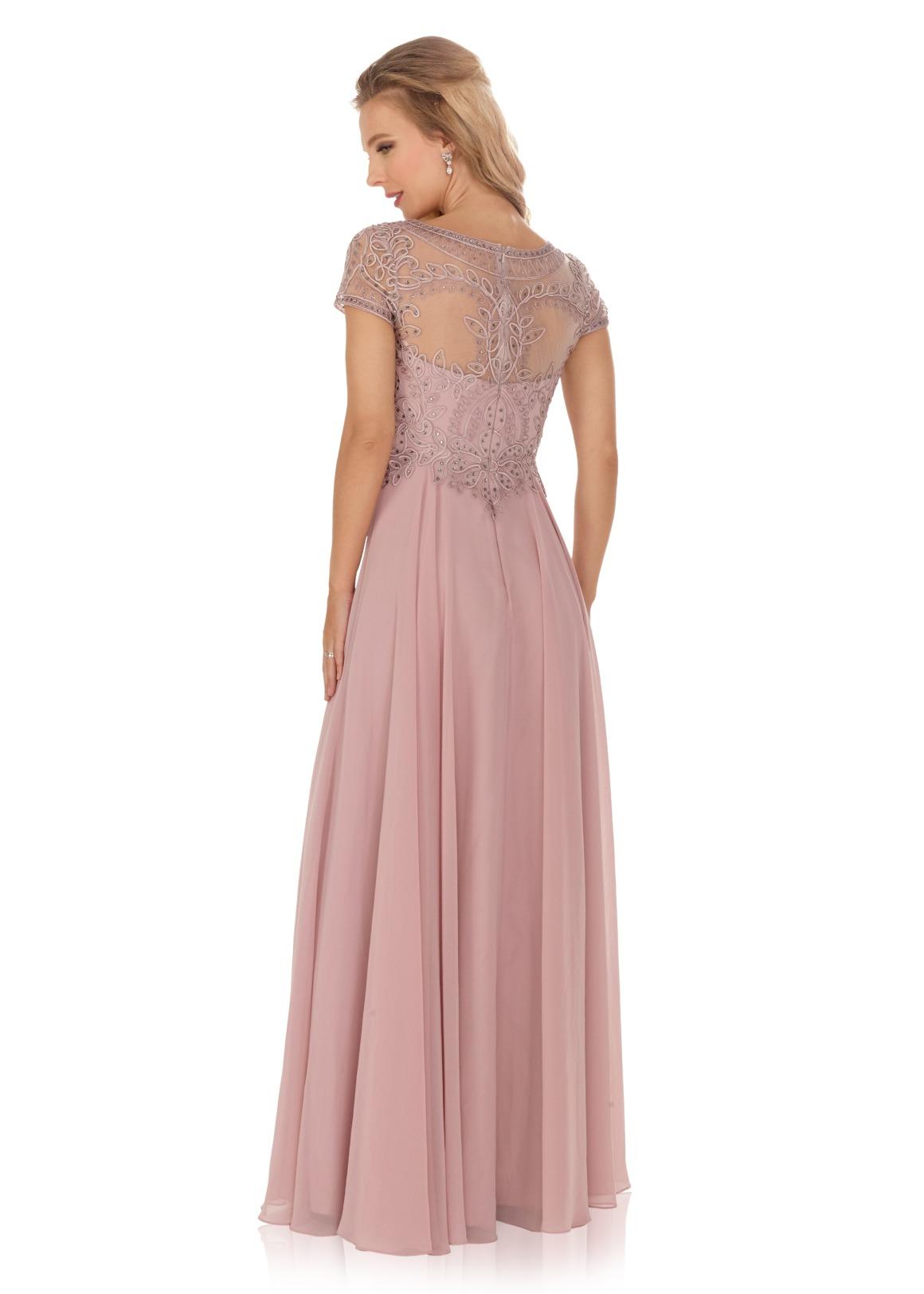 Schützenfest Königinnenkleid Hofdamen Hofstaat Kleid mauve elegant glitzer mit Ärmeln Chiffon Rock transparent Rücken