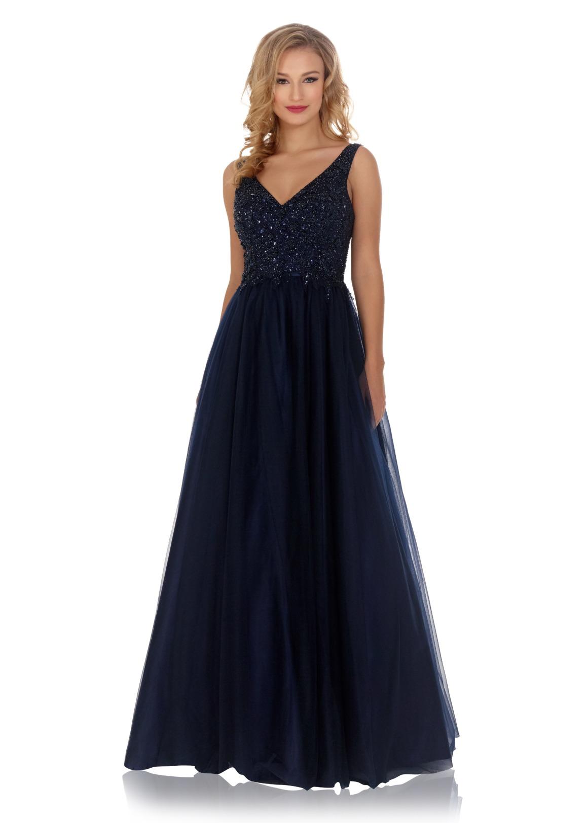 Schützenfest Königinnenkleid Hofdamen Hofstaat Kleid dunkelblau navy blau Tüllrock elegant glitzer V-Ausschnitt