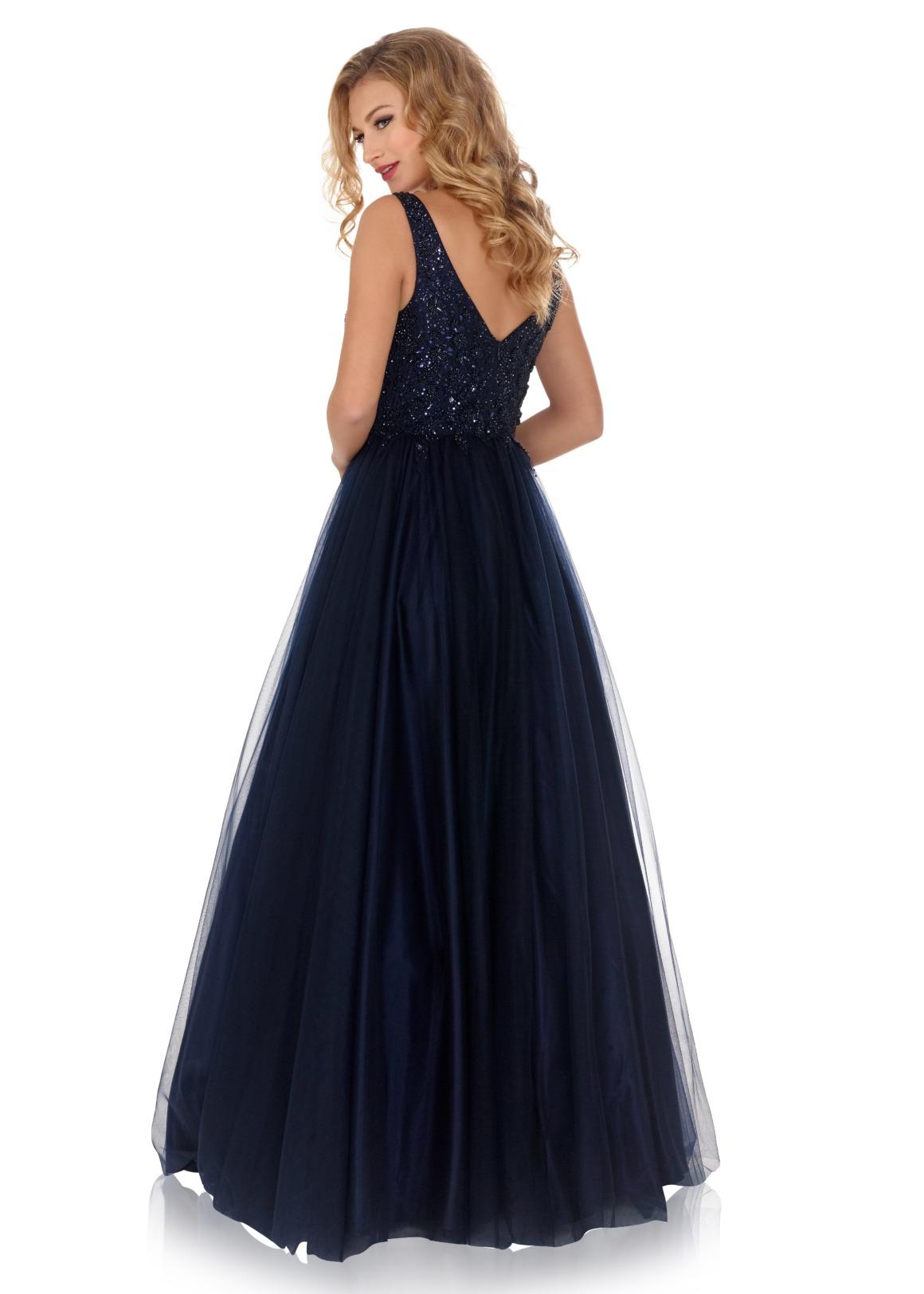 Schützenfest Königinnenkleid Hofdamen Hofstaat Kleid dunkelblau navy blau Tüllrock elegant glitzer V-Ausschnitt Rückenansicht