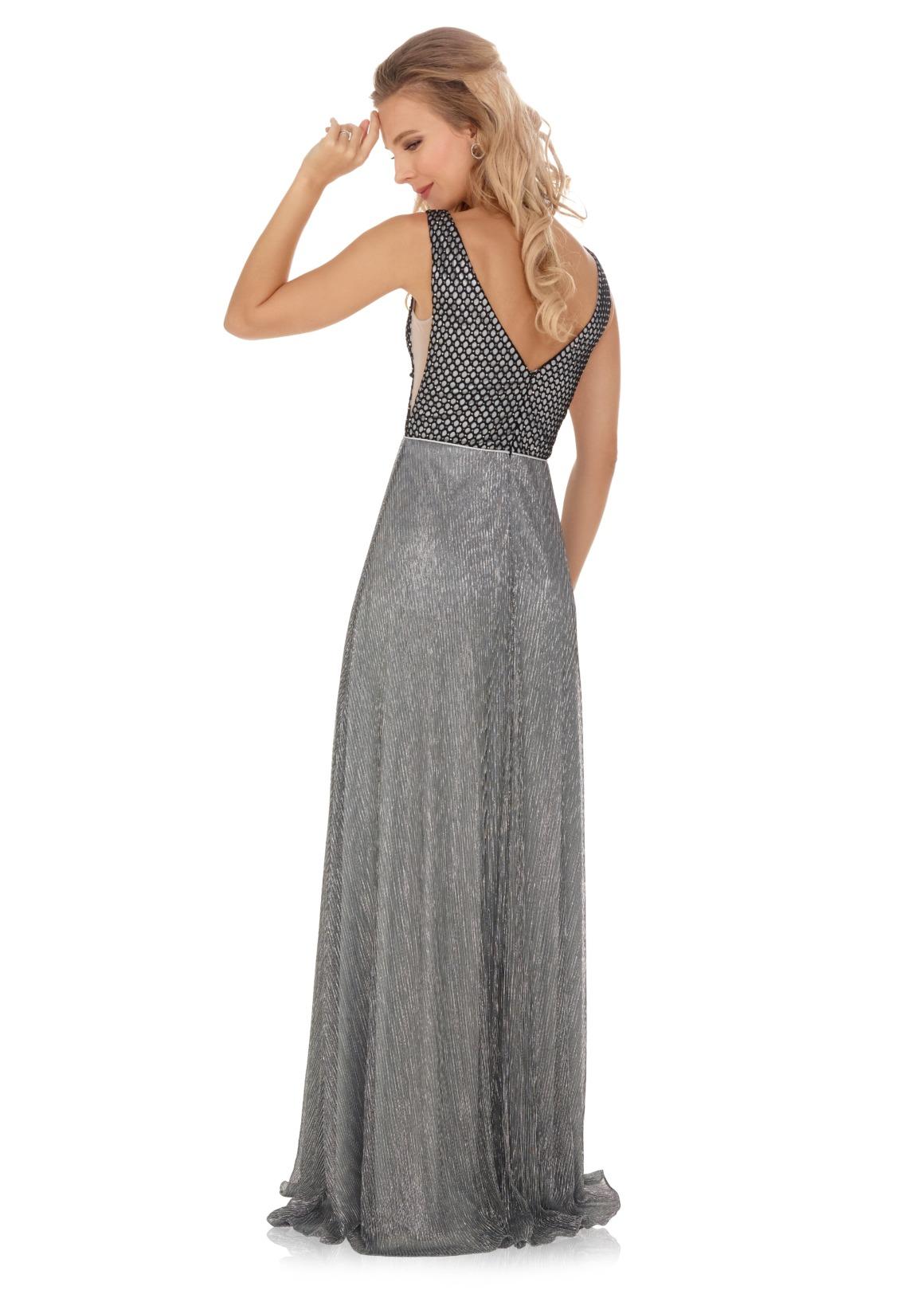 Schützenfest Königinnenkleid Hofdamen Hofstaat Kleid grau silber plissee glitzer V-Ausschnitt