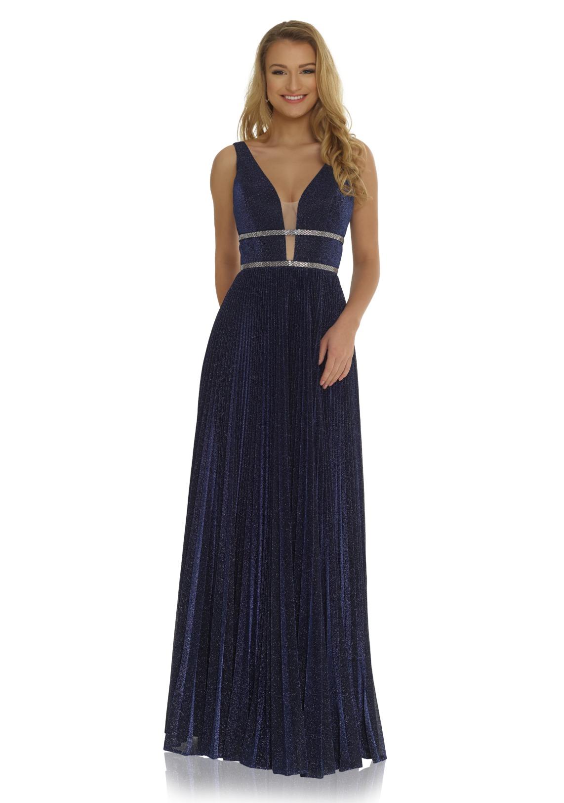 Abiball Kleid lang - navy blau dunkelblau plissee glitzer