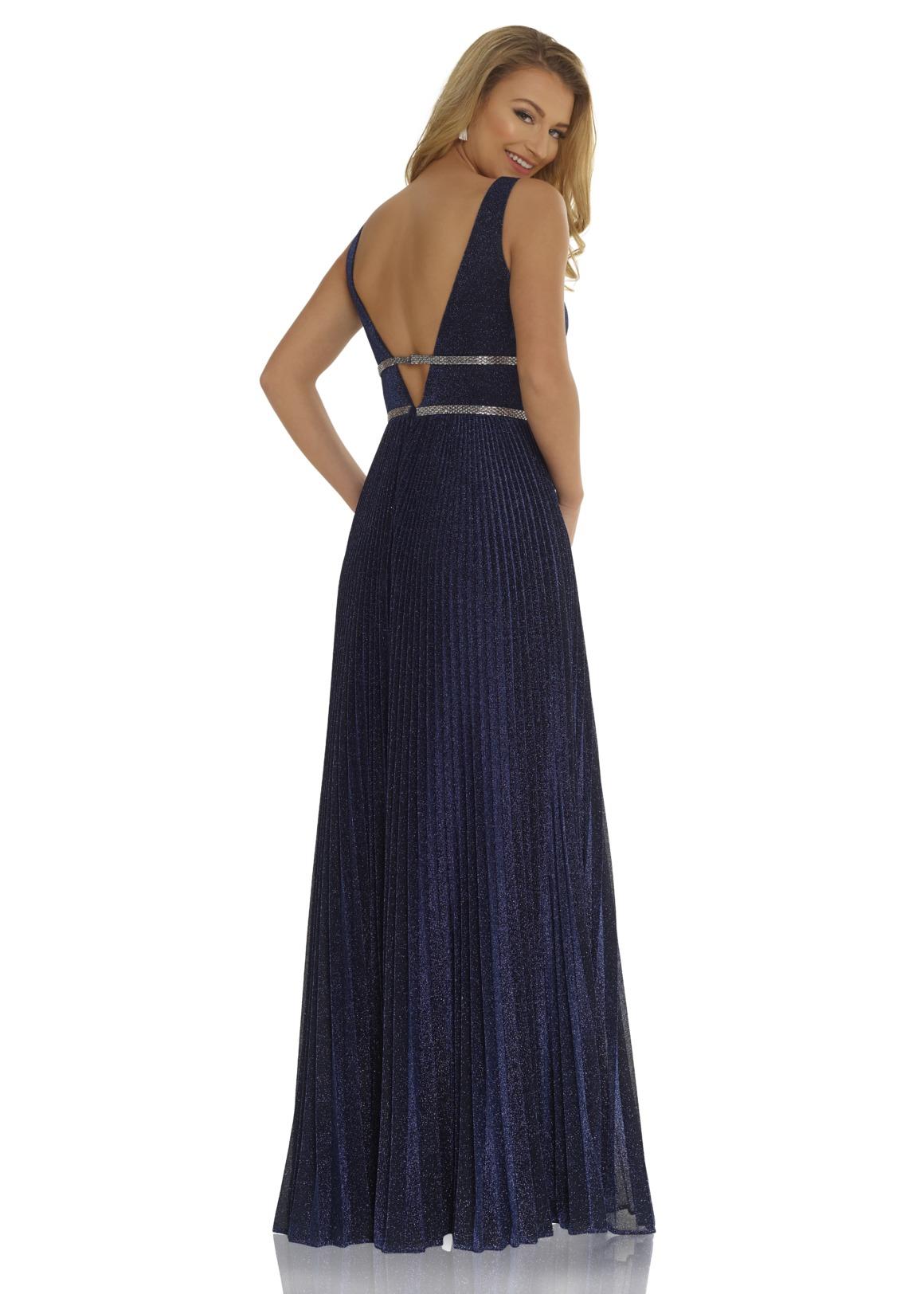 Abiball Kleid lang - navy blau dunkelblau plissee glitzer - Rücken