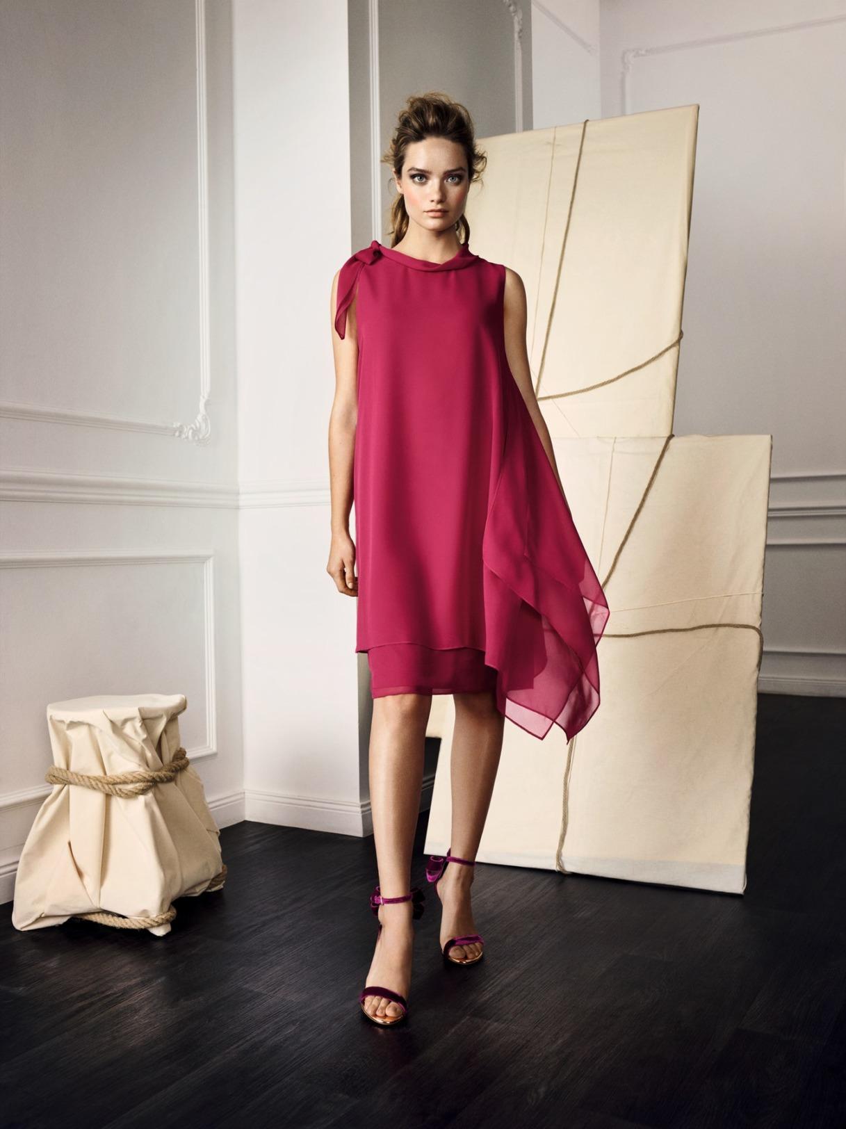 Vera Mont Kleid Anlass Mode Hochzeit Festmode Damen für Eltern rot chiffon kurz Abendkleid festlich